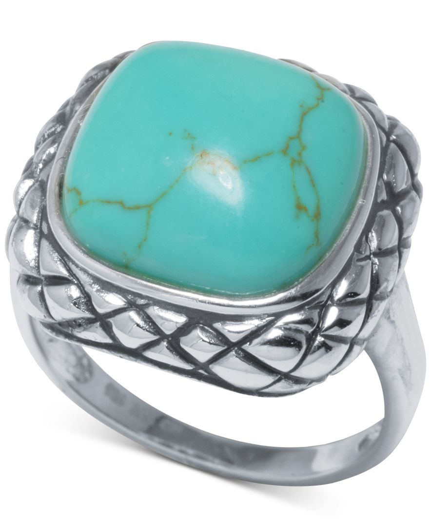 macy s manufactured turquoise scrolled ring 1 ct t w