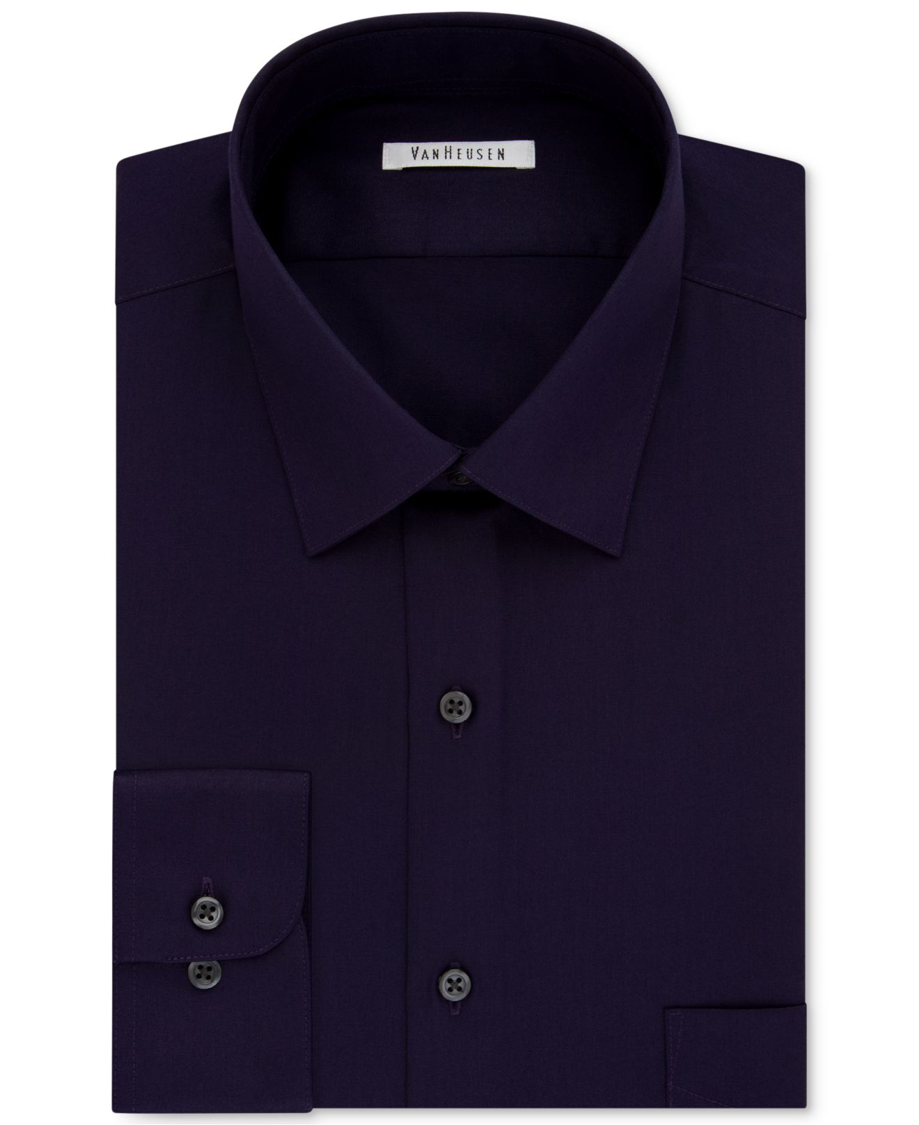 Lyst van heusen men 39 s big and tall solid dress shirt in for Big and tall purple dress shirts