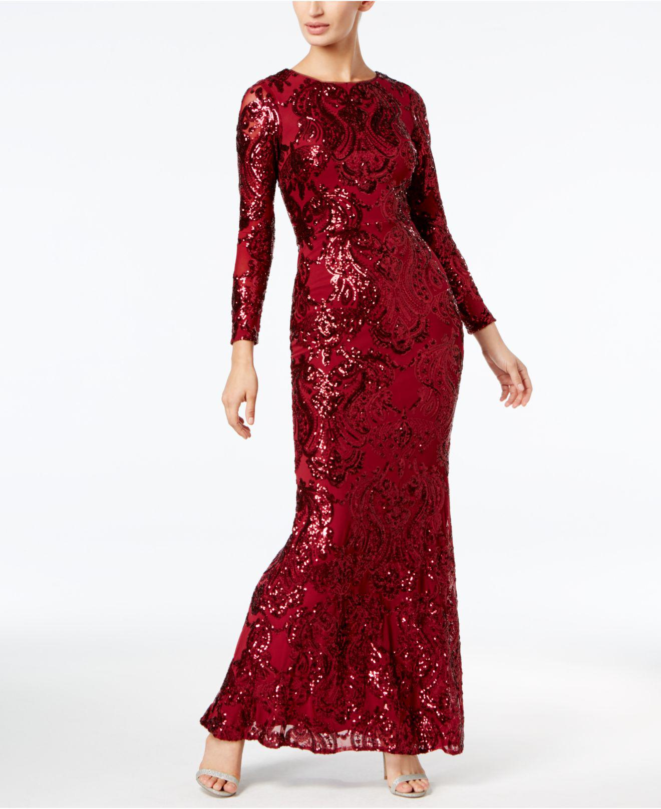 bbfeb581651c Betsy & Adam Sequined A-line Gown in Red - Lyst