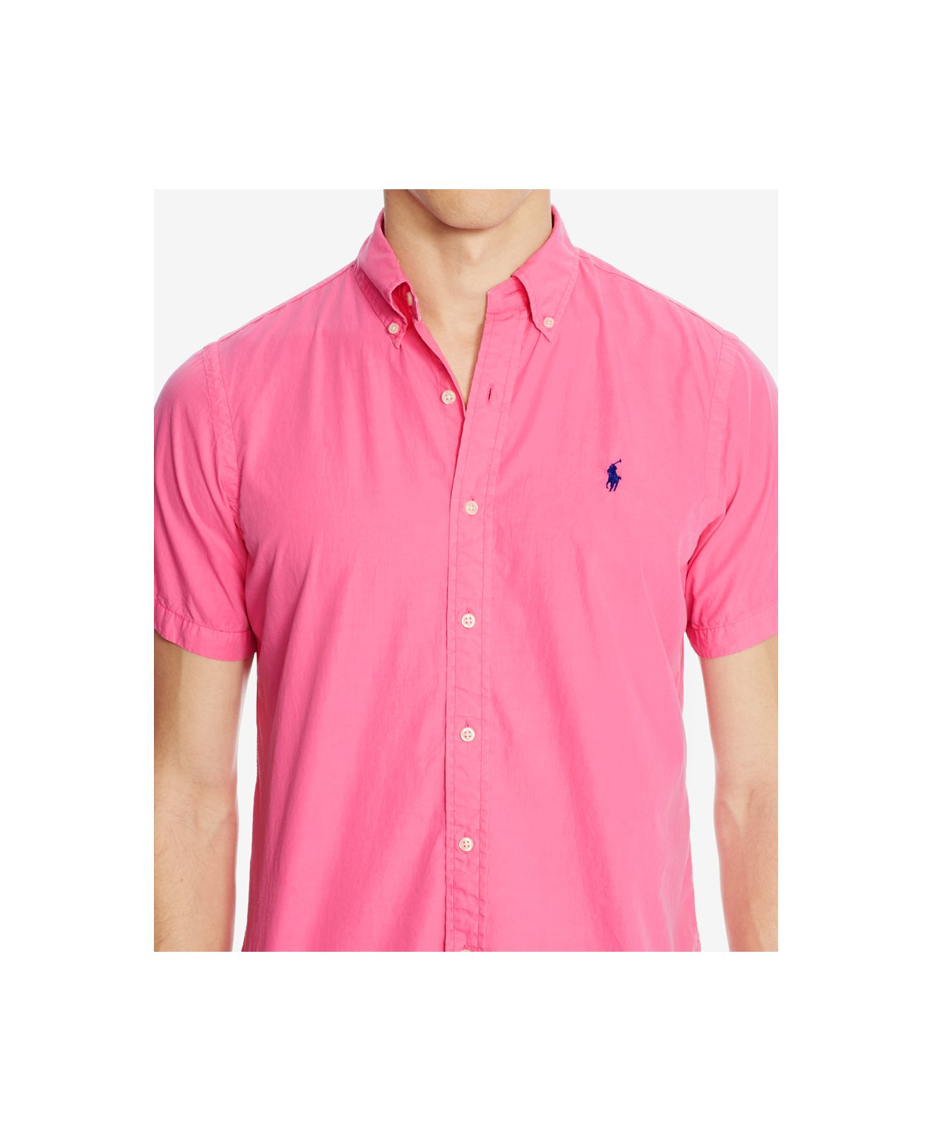 Polo Ralph Lauren Short Sleeve Silk Shirt In Pink For Men