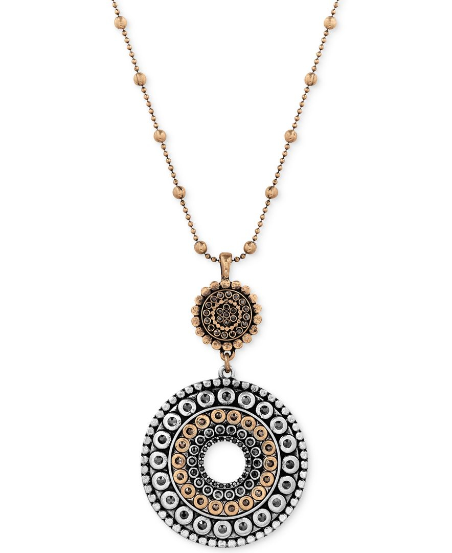 Lucky brand two toned decorated disc pendant necklace in for Macy s lucky brand jewelry