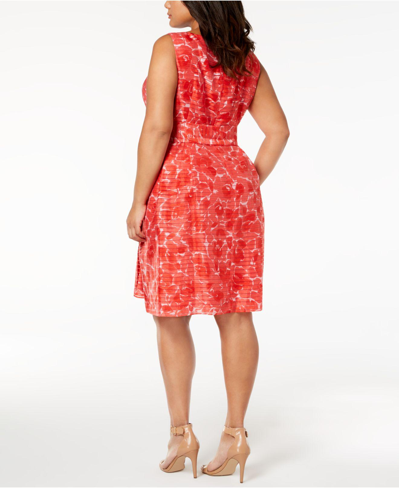 7e962793956 Lyst - Anne Klein Plus Size Rosewater Shadow-stripe Fit   Flare ...