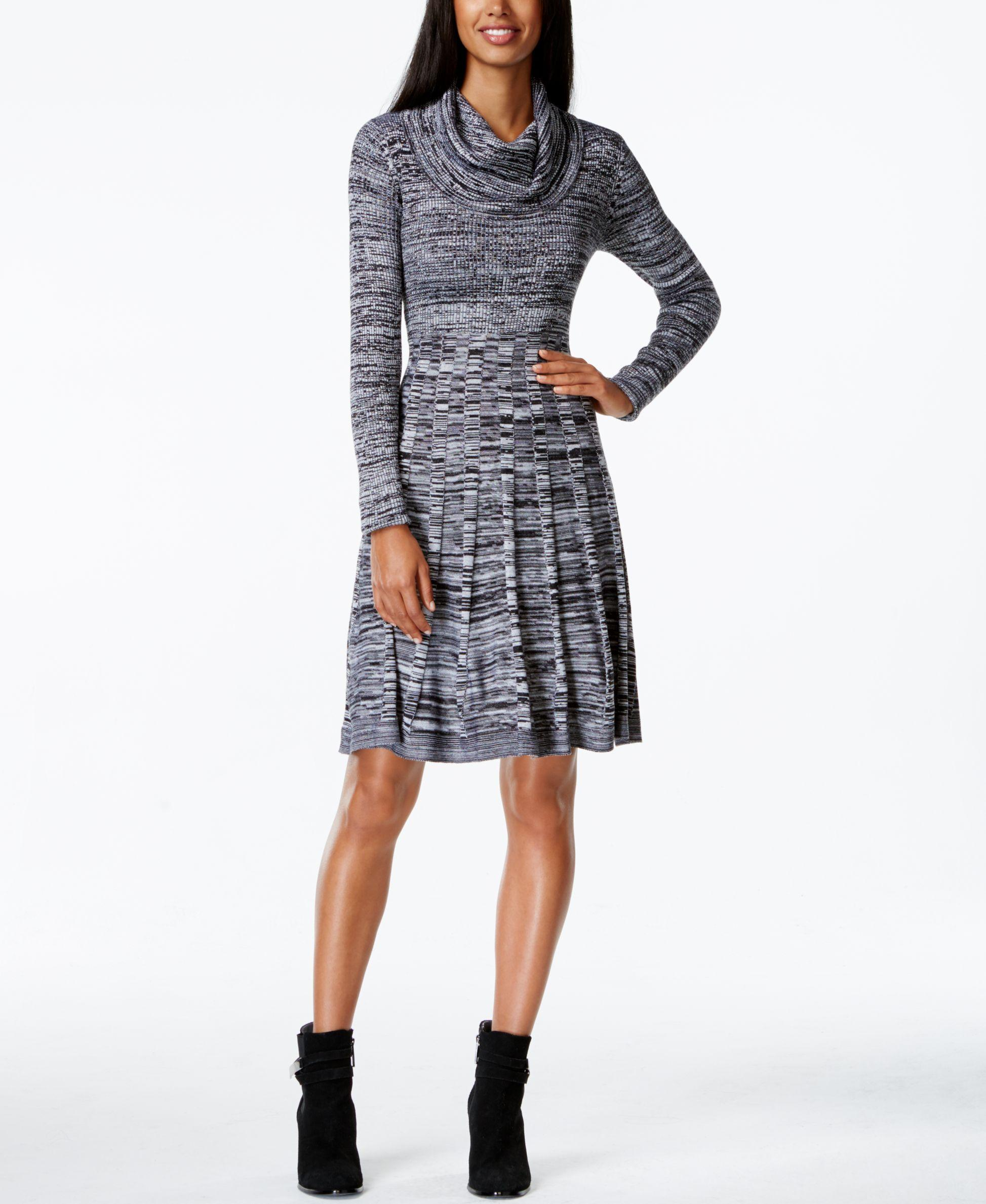 Calvin Klein Cowl Neck Marled Sweater Dress In Gray Lyst