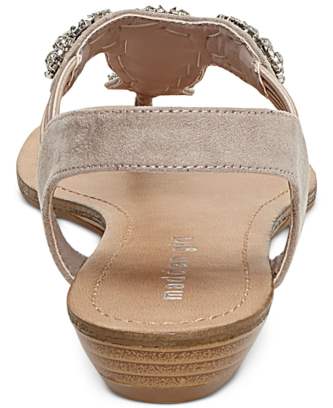 Madden Girl Tuzzie T Strap Jeweled Sandals In Pink Blush