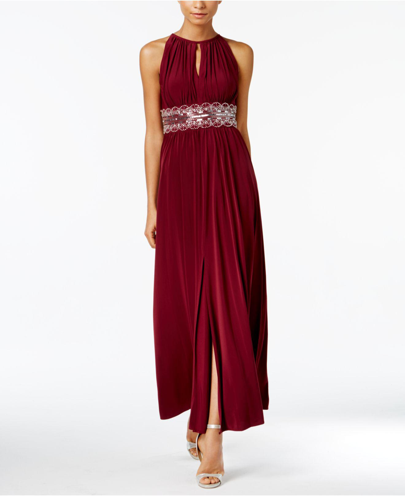 Lyst - R & M Richards Dress, Sleeveless Beaded Evening Gown in Red