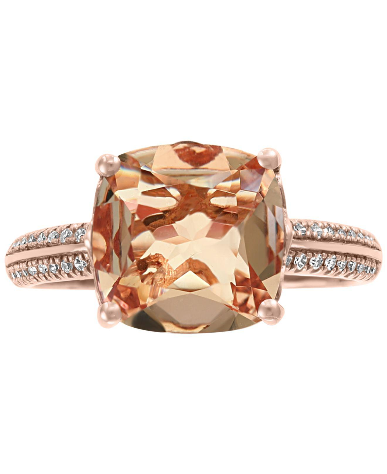 a163562ef1c2ce Lyst - Effy Collection Effy® Morganite (2-9 10 Ct. T.w.)   Diamond (1 8 Ct.  T.w.) Ring In 14k Rose Gold in Metallic