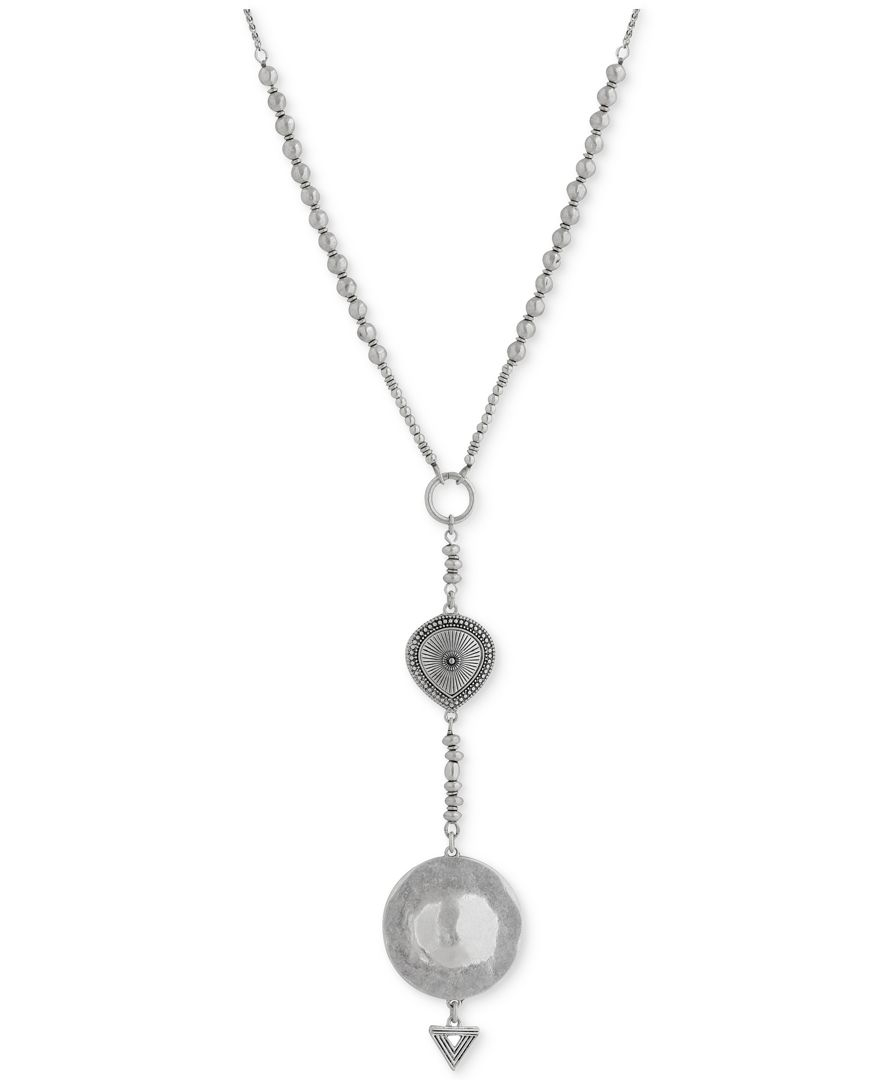 Lucky brand silver tone lariat necklace in metallic lyst for Macy s lucky brand jewelry