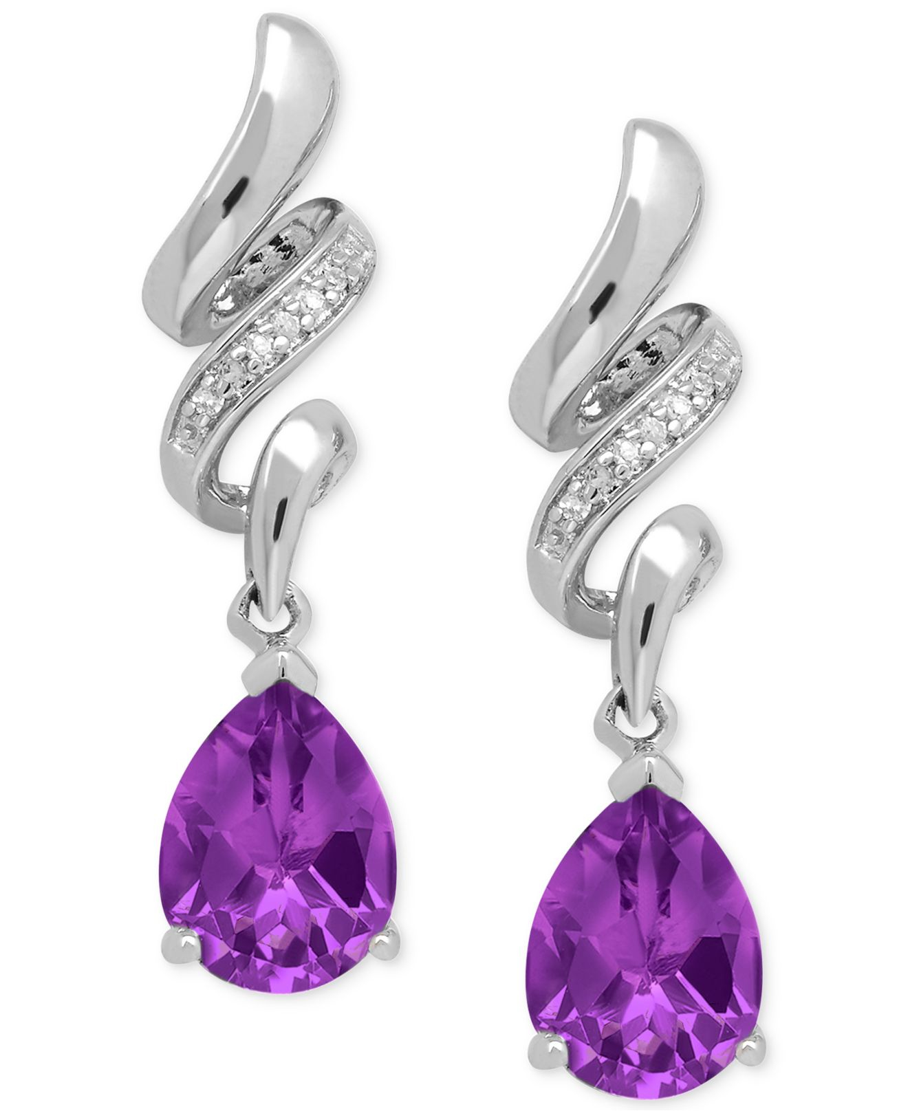 macy s amethyst earrings macy s amethyst 1 9 10 ct t w and accent 3477