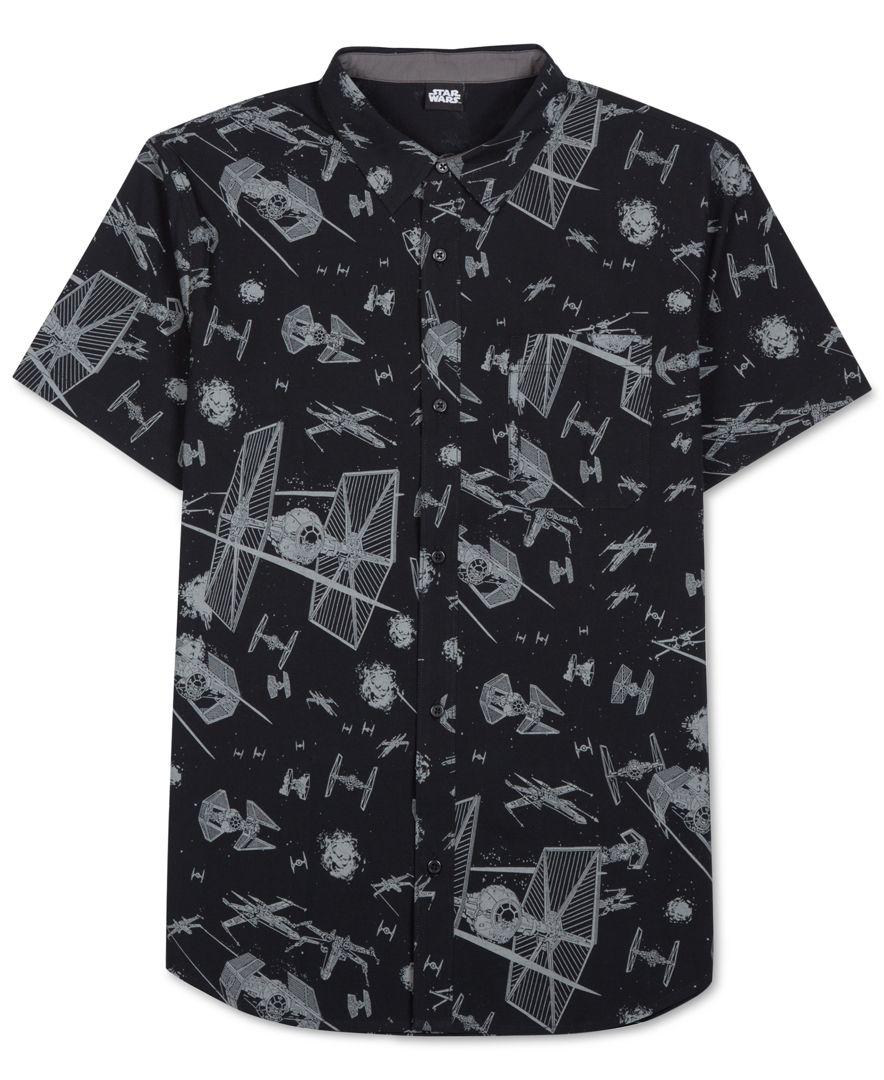 Jem men 39 s star wars print short sleeve shirt in black for for Mens shirt with stars