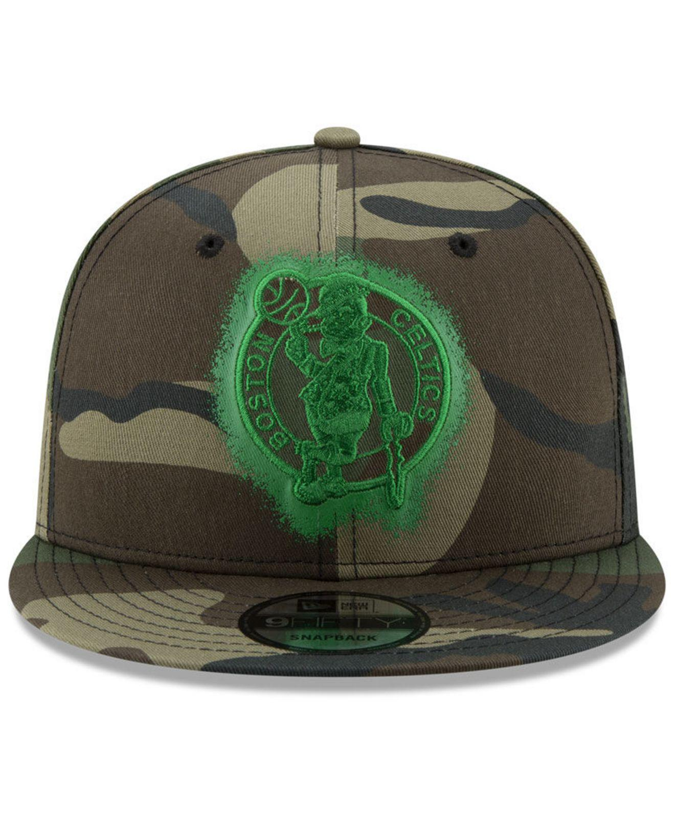 new product 8e5af 40385 ... france lyst ktz boston celtics overspray 9fifty snapback cap in green  for men 1e7cf 17d17