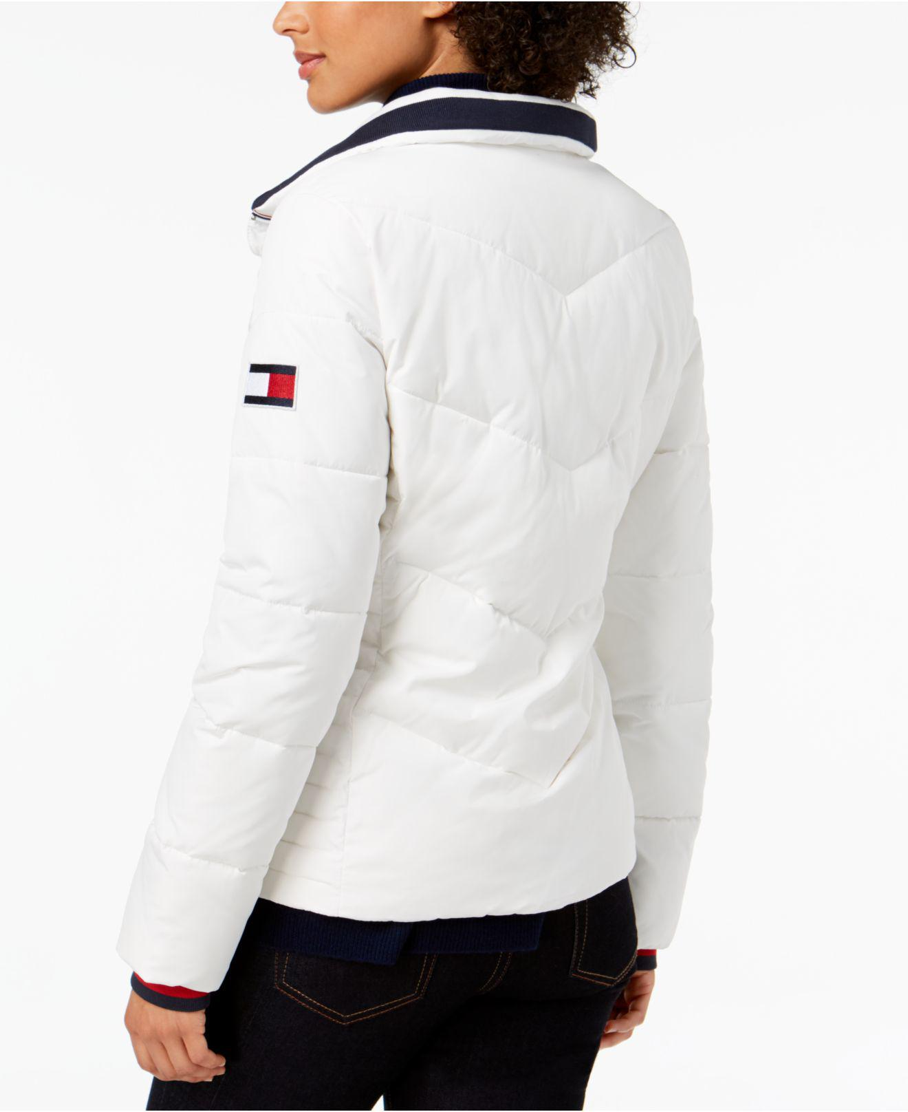 0c9c4c72 Tommy Hilfiger Chevron Quilted Puffer Coat in White - Lyst