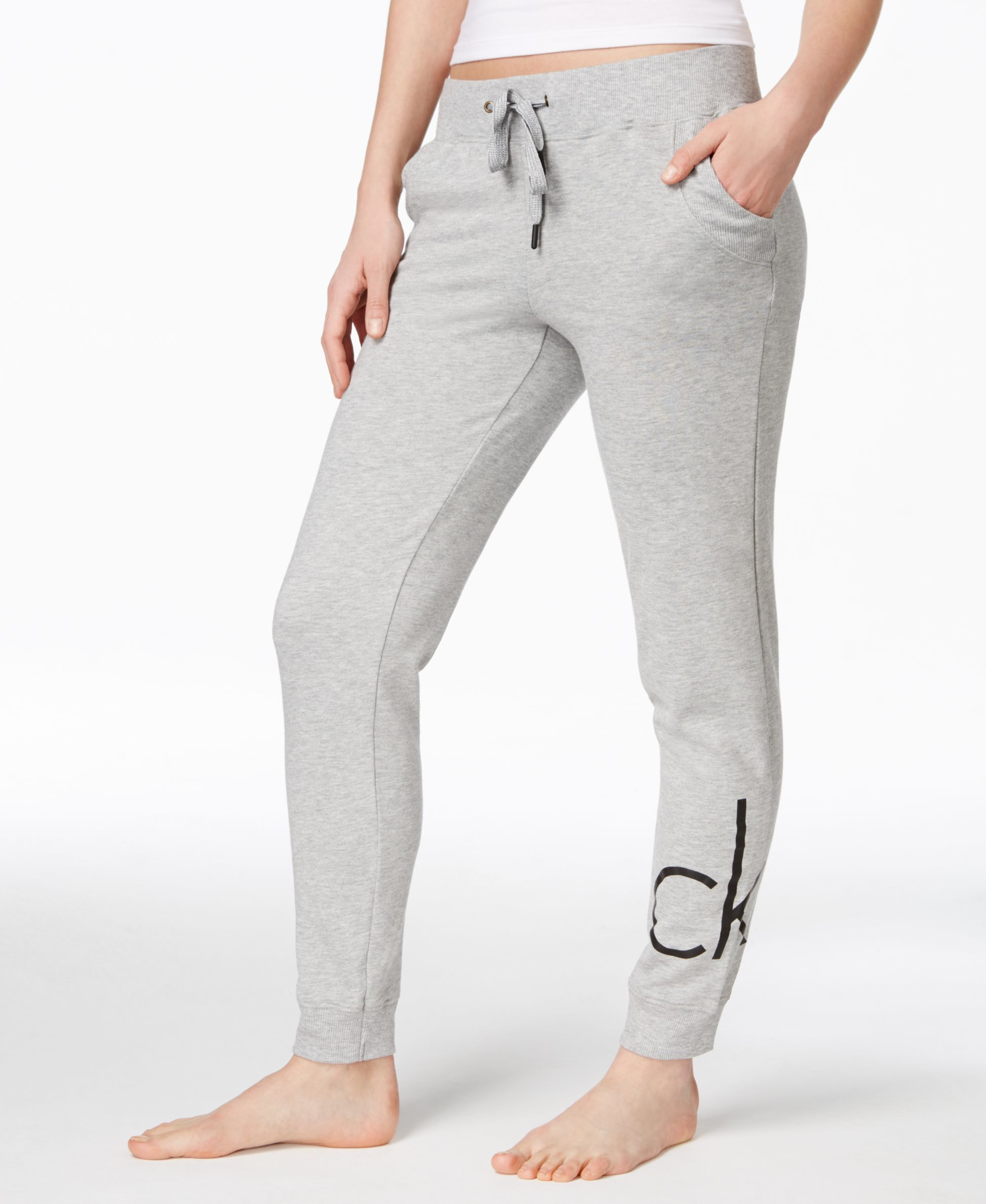 d0854c562f946 Calvin Klein Logo Jogger Pants in Gray - Lyst