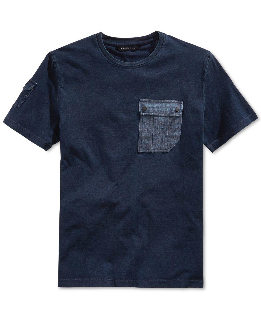 Sean john flight short sleeve pocket t shirt in blue for for Sean john t shirts for mens