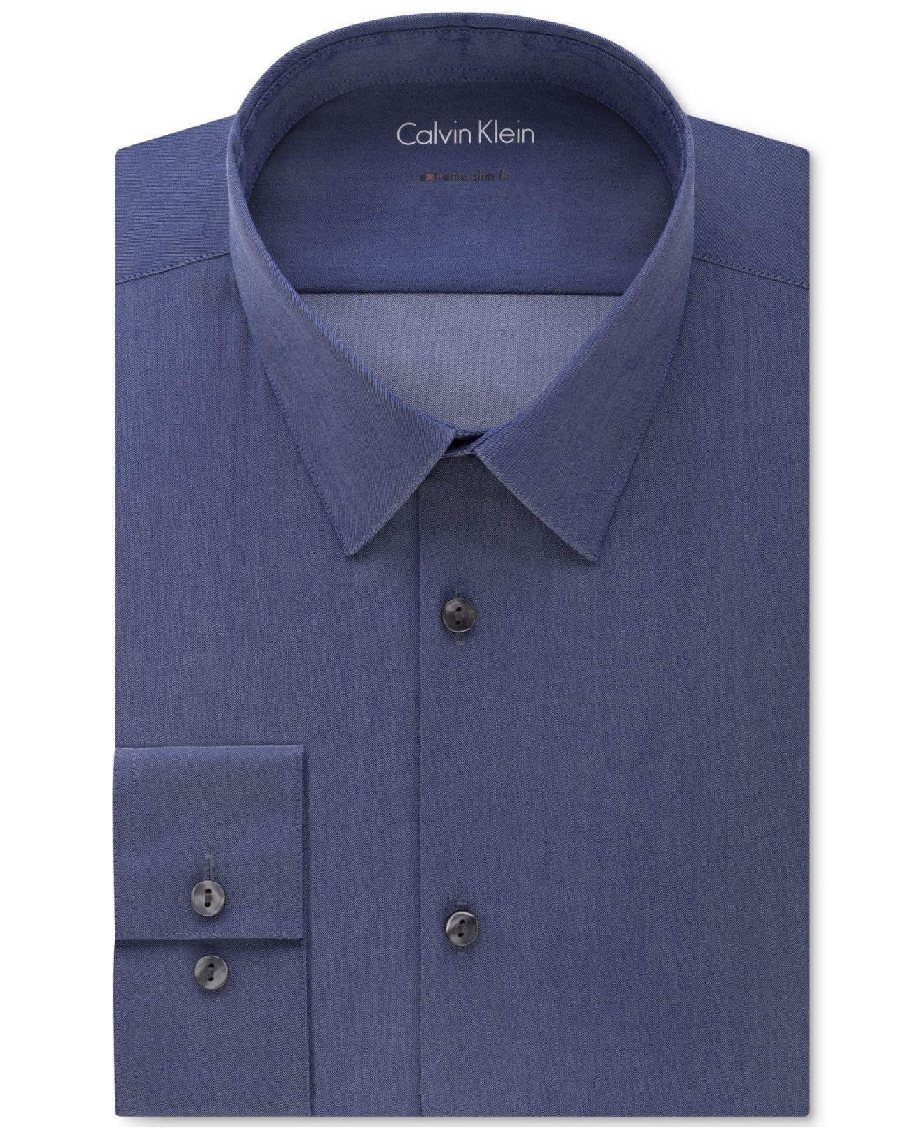 Calvin klein men 39 s extra slim fit stretch navy chambray for Extra slim dress shirt