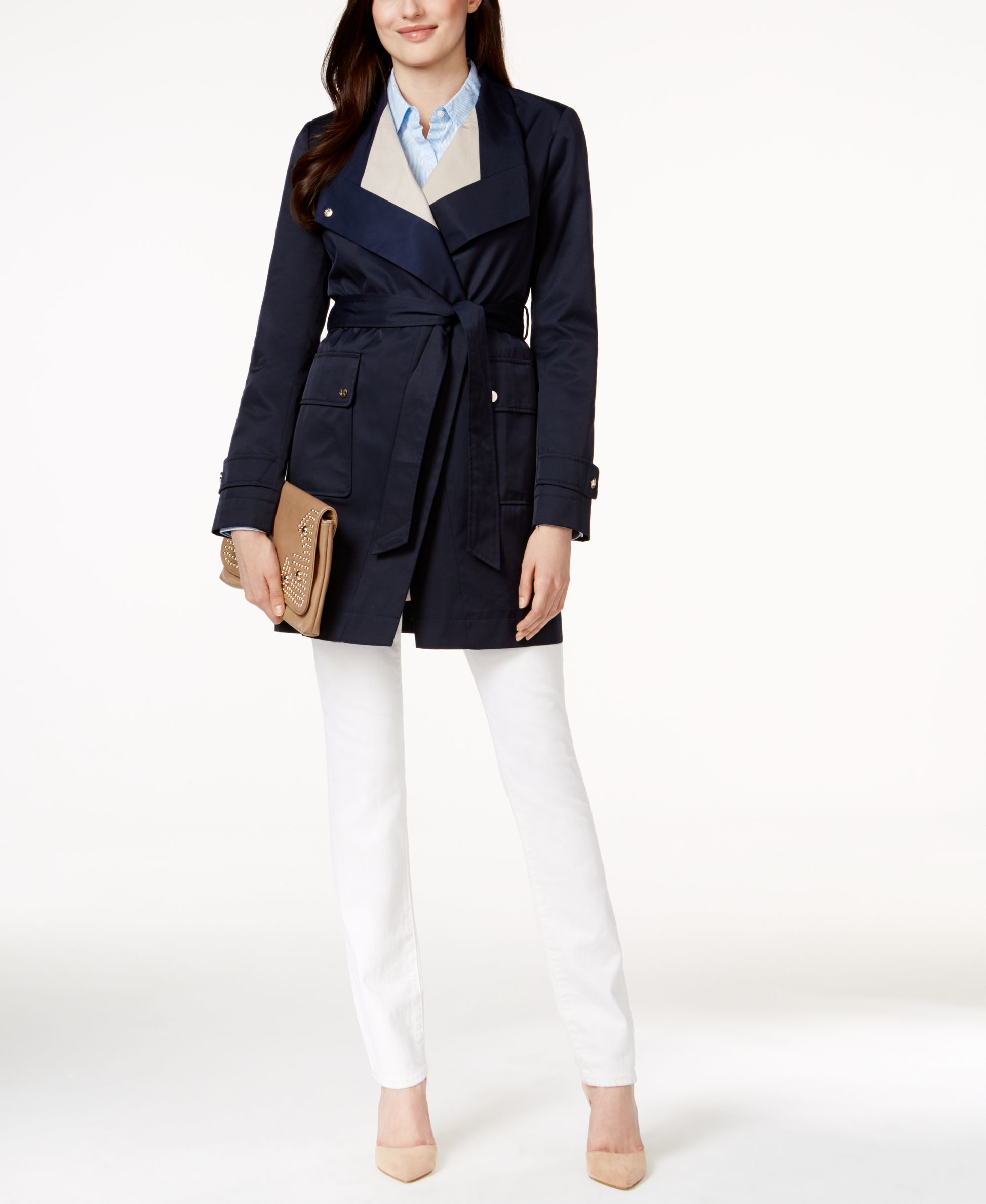 Ivanka trump Colorblocked Wrap Trench Coat in Blue | Lyst