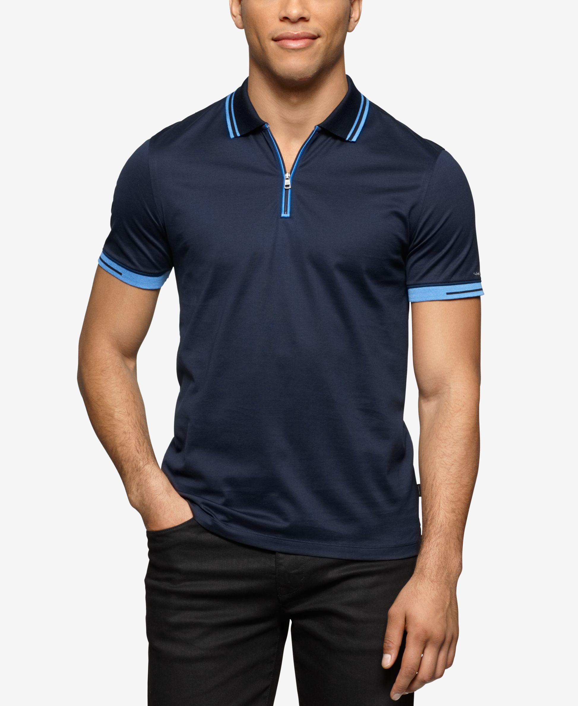 calvin klein men 39 s slim fit quarter zip polo in blue for. Black Bedroom Furniture Sets. Home Design Ideas
