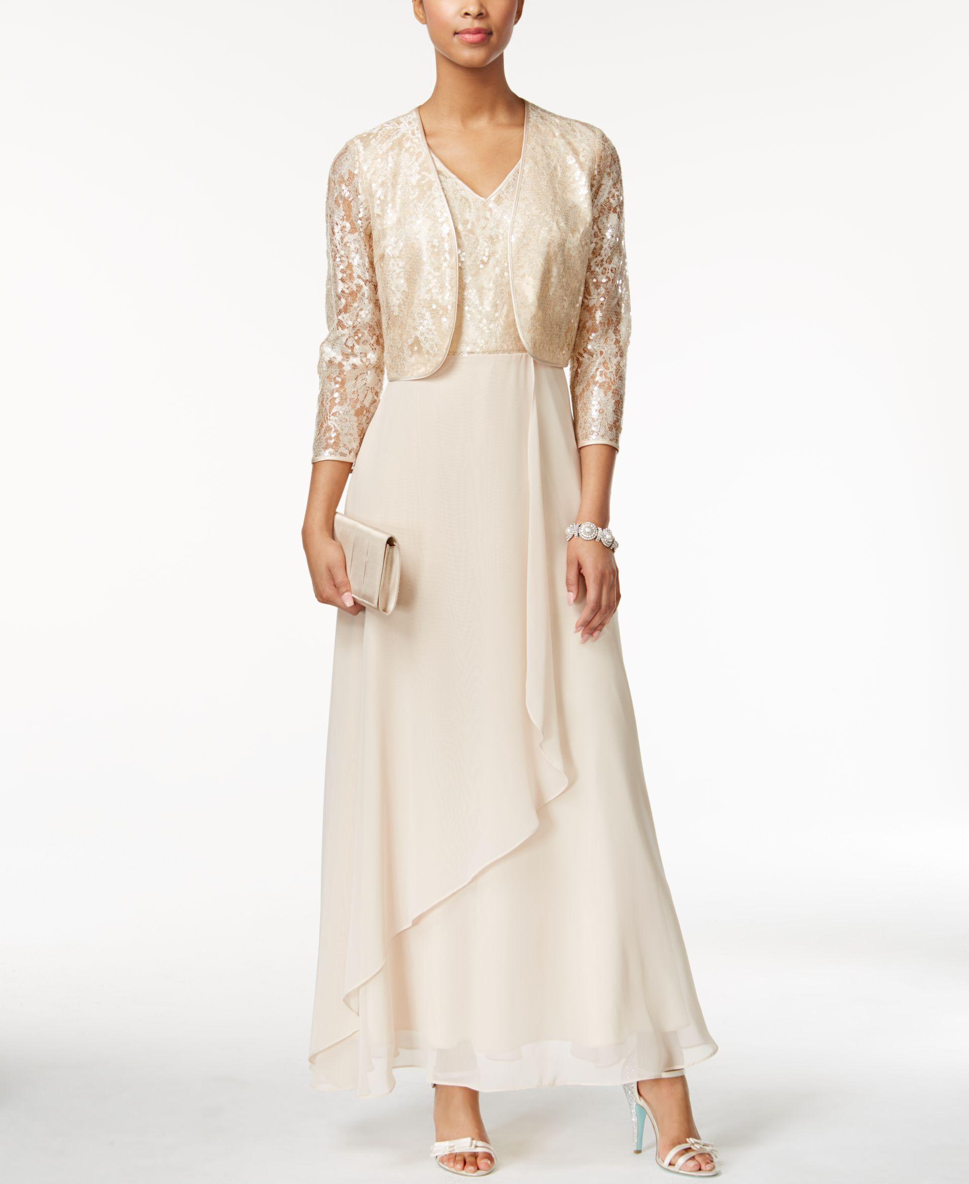 e59a42c850 Lyst - Tahari Sequined Lace Gown And Jacket in Metallic