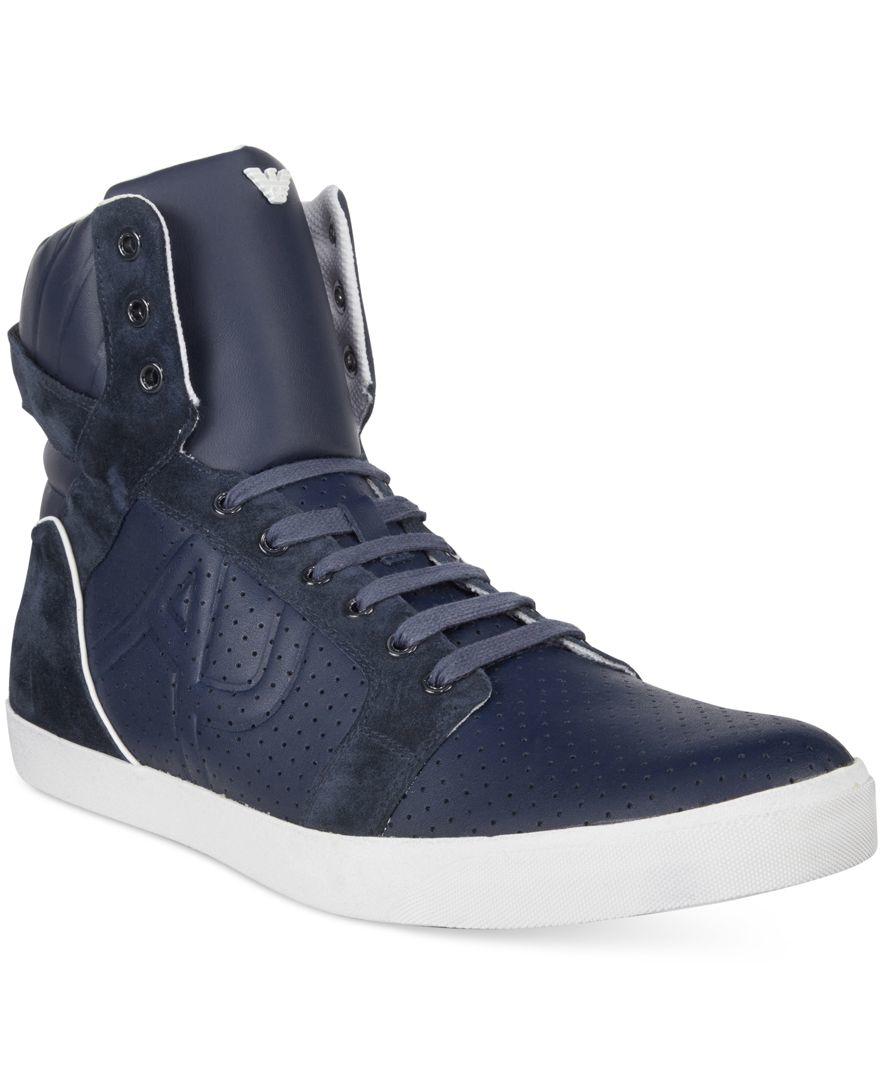 armani jeans men 39 s perforated hi top sneaker in blue for men lyst. Black Bedroom Furniture Sets. Home Design Ideas