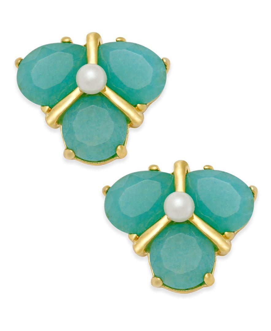colorful stud gold turquoise plated hexagone