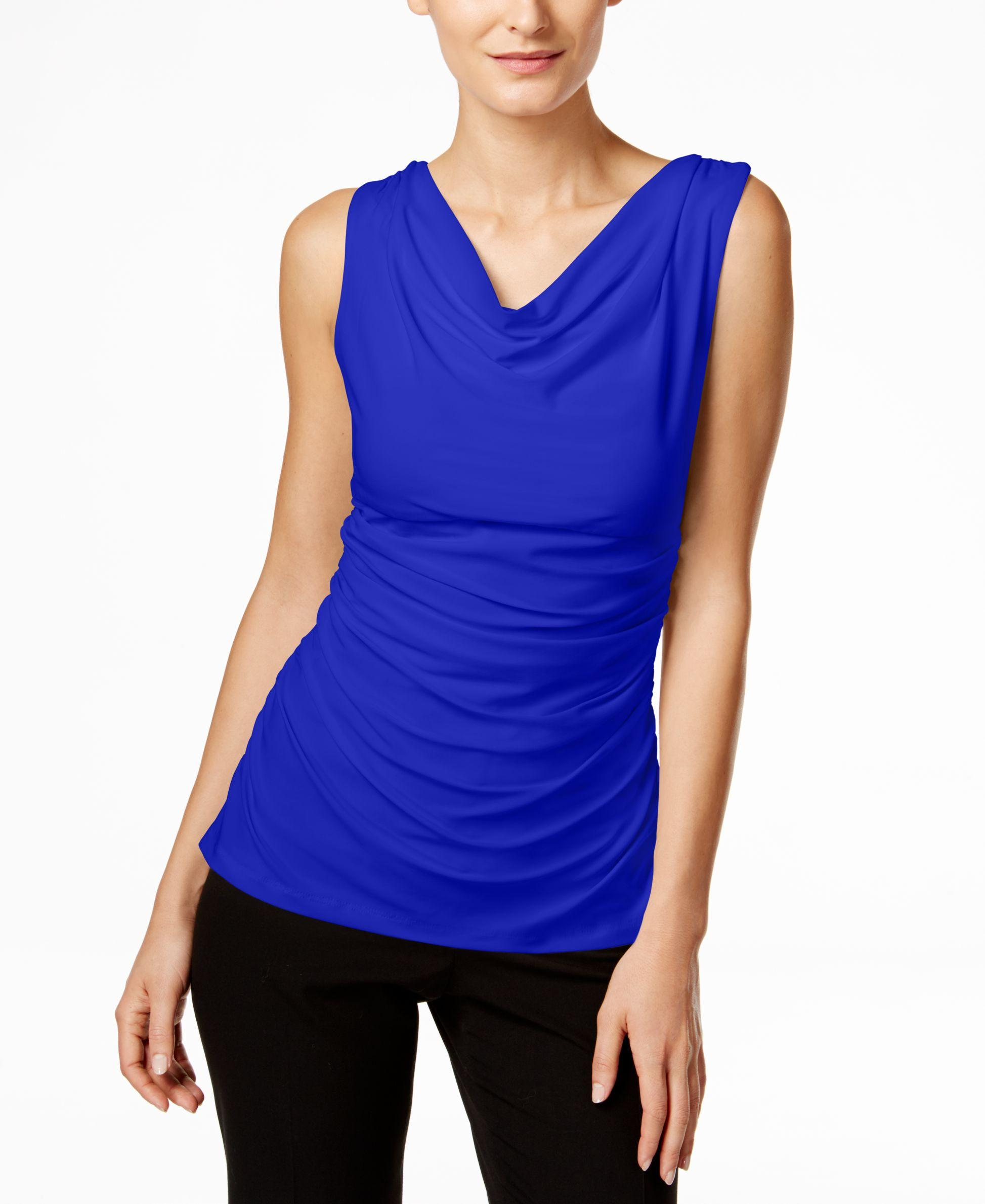3f618e58392 Lyst - Calvin Klein Fit Solutions Draped Ruched Top in Blue