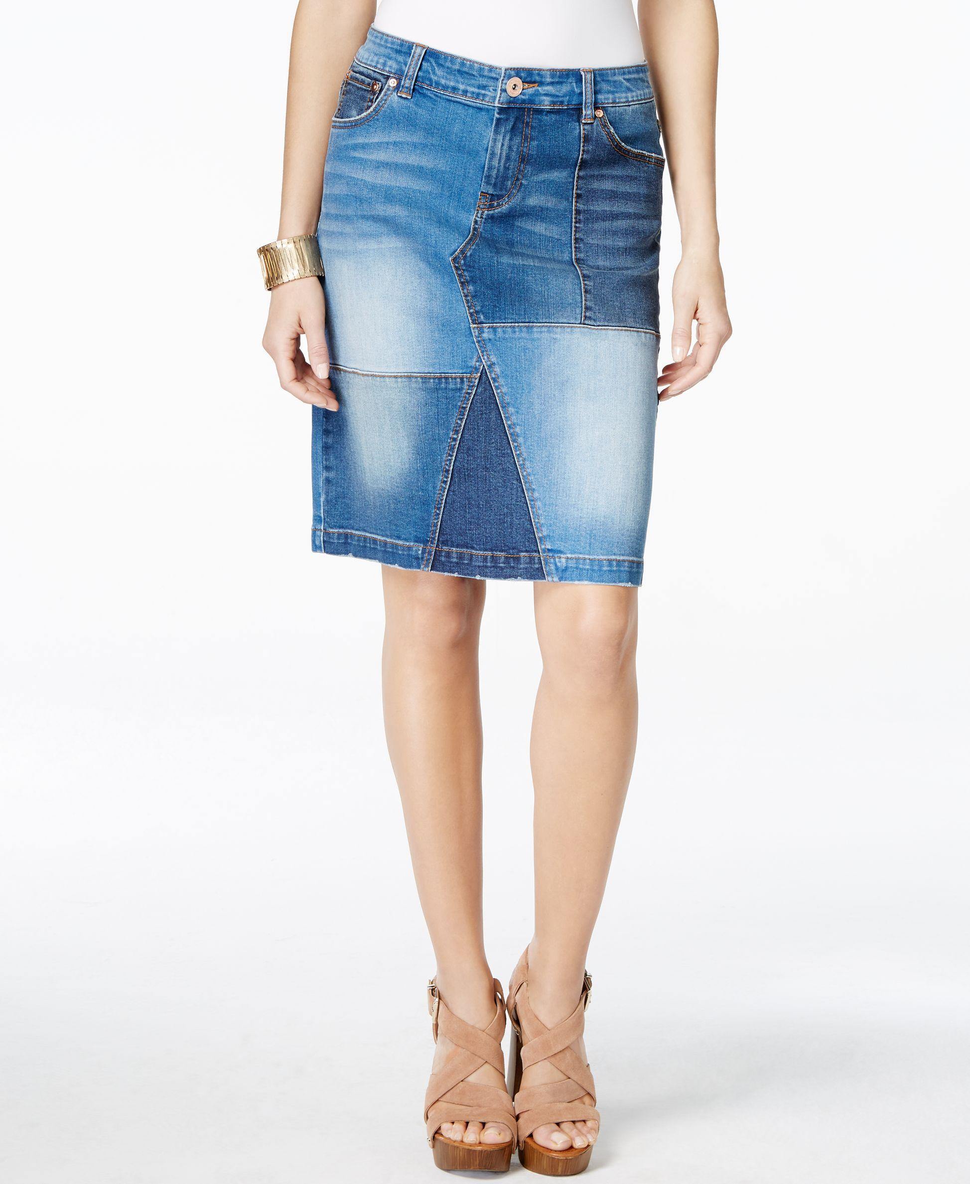 inc international concepts denim patchwork pencil skirt