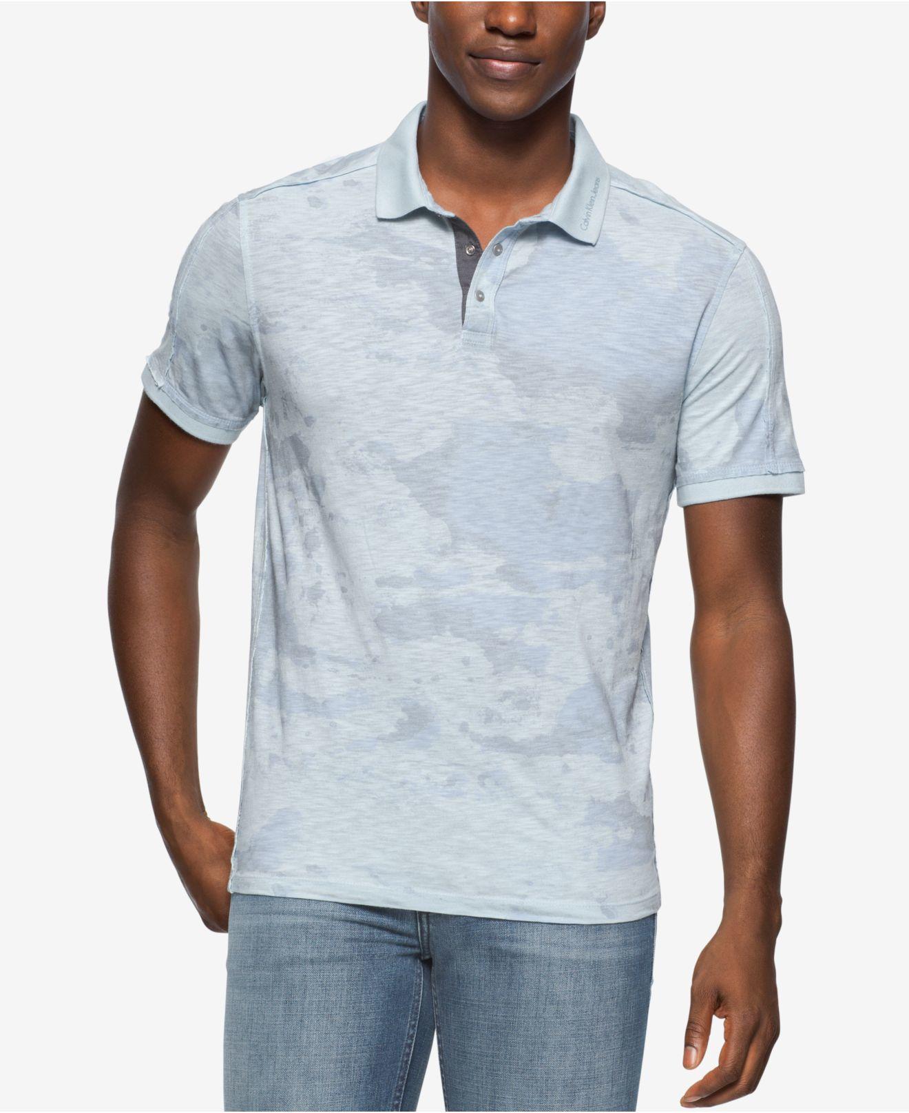 Calvin klein jeans men 39 s camo polo shirt in gray for men for Camo polo shirts for men