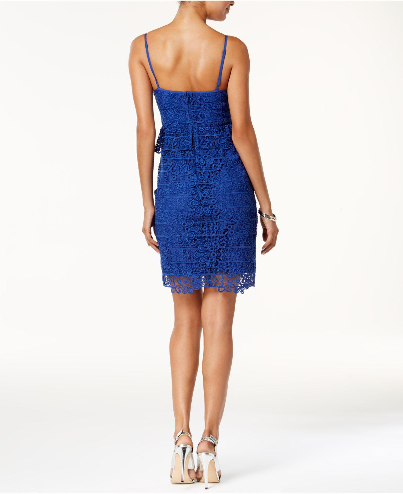 efa2b0b9274 Lyst - Guess Solstice Lace Bodycon Dress in Blue