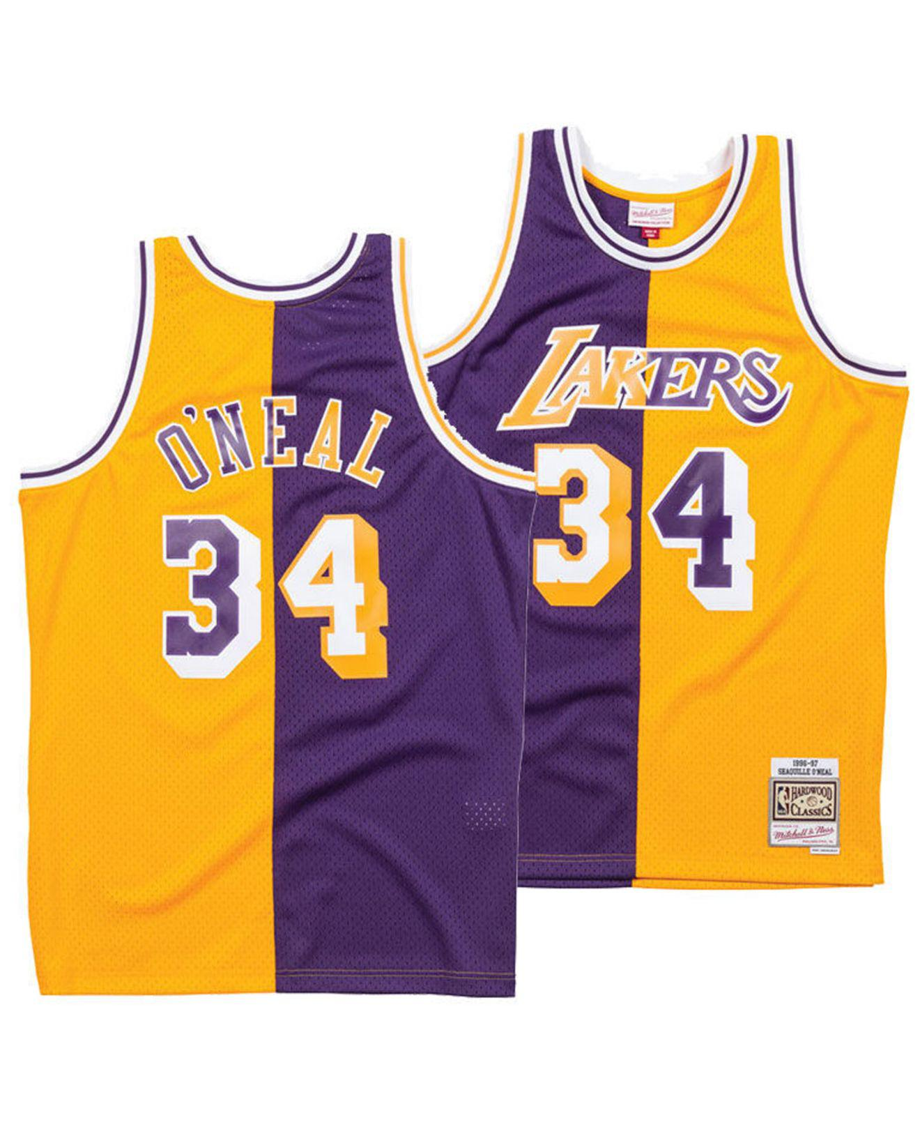 aa95c9d24 Mitchell   Ness. Men s Purple Shaquille O neal Los Angeles Lakers Split Swingman  Jersey