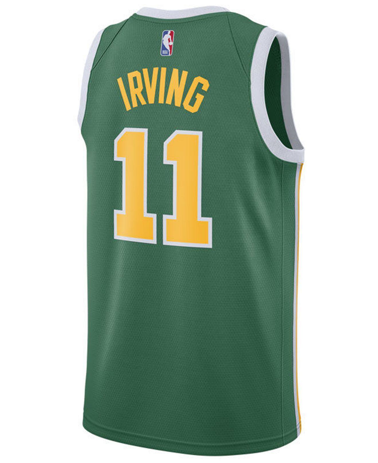 53d0b54628a Nike. Men s Green Kyrie Irving Boston Celtics Earned Edition Swingman Jersey