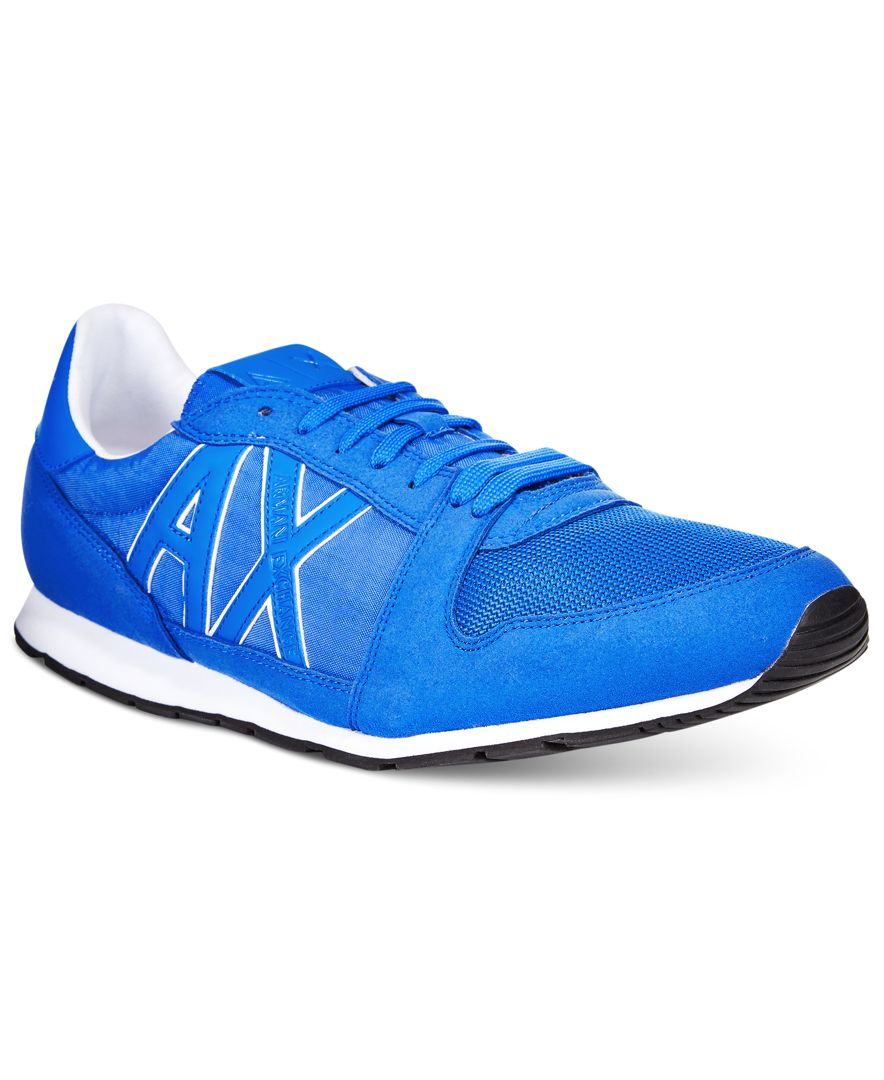 armani exchange s ax jogger sneakers in blue for