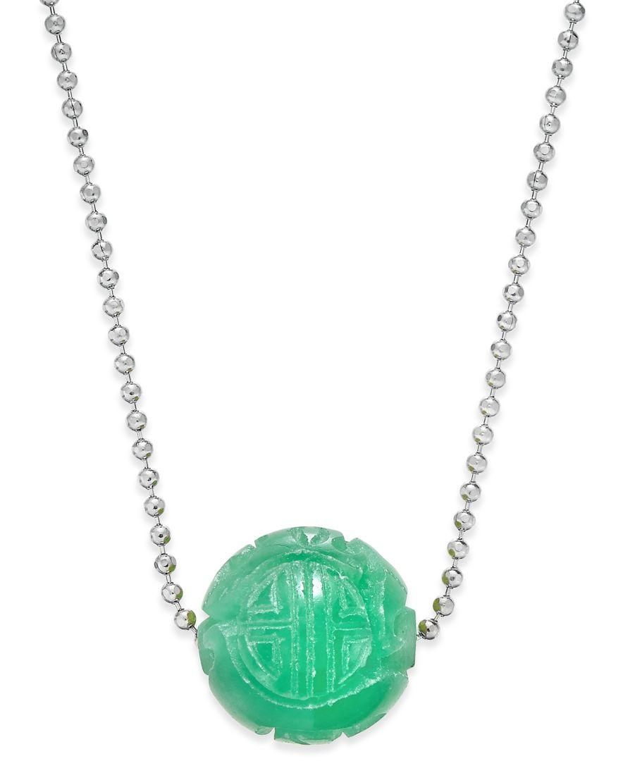 macy 39 s jade carved ball beaded pendant necklace 12mm in