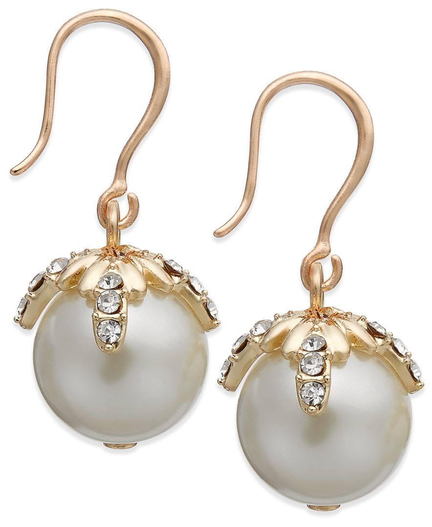 macy s pearl earrings charter club gold tone pave imitation pearl drop earrings 199