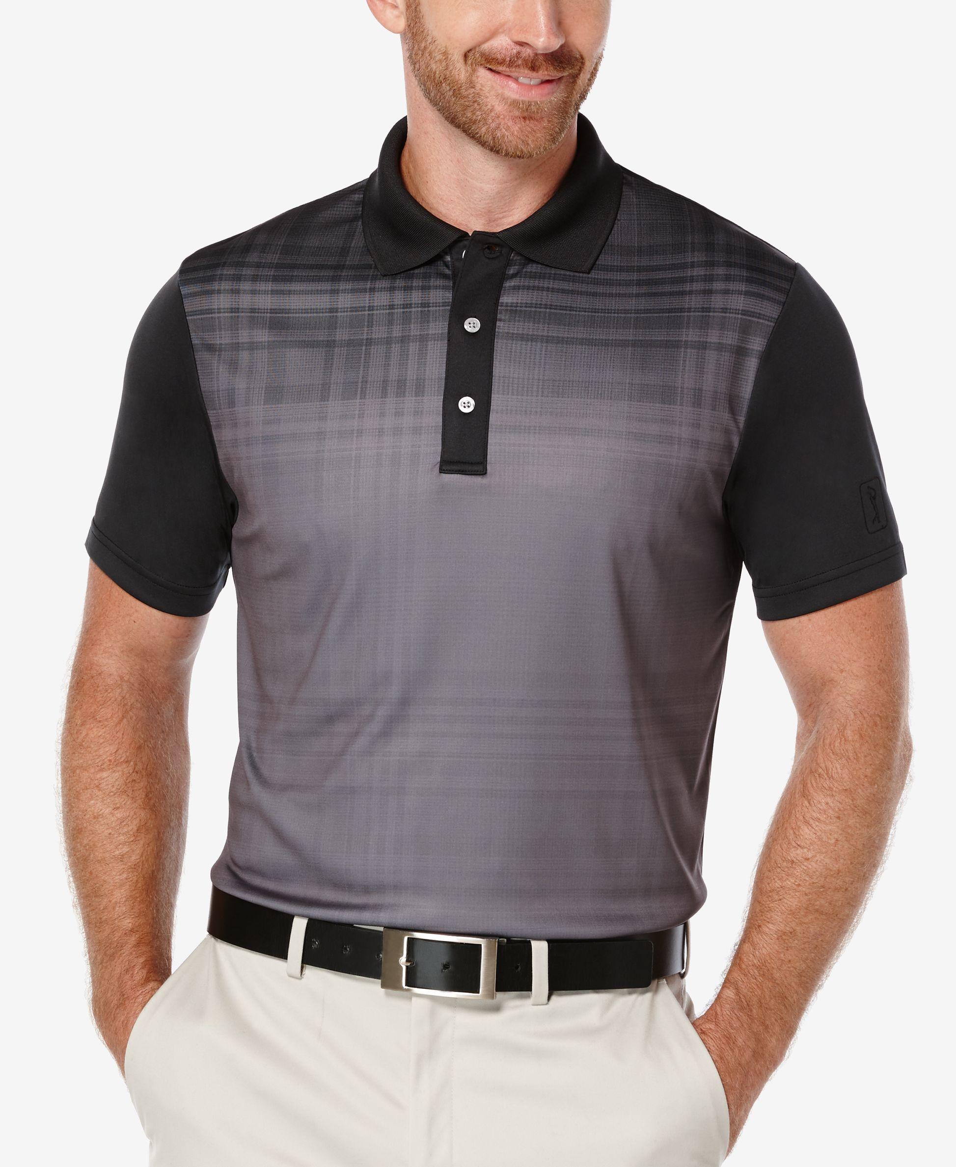 Pga Tour Men S Fading Plaid Colorblocked Polo Shirt In