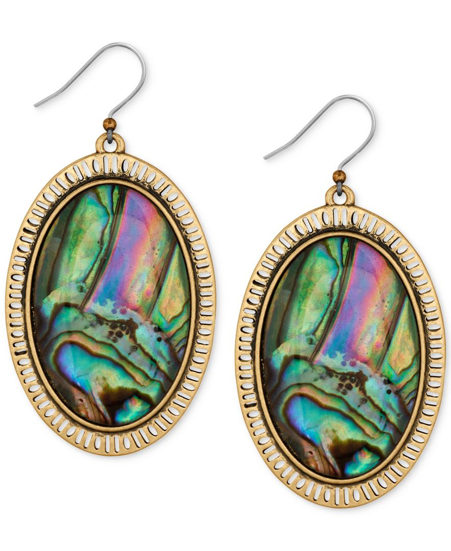 Lucky brand gold tone large oval abalone look drop for Macy s lucky brand jewelry