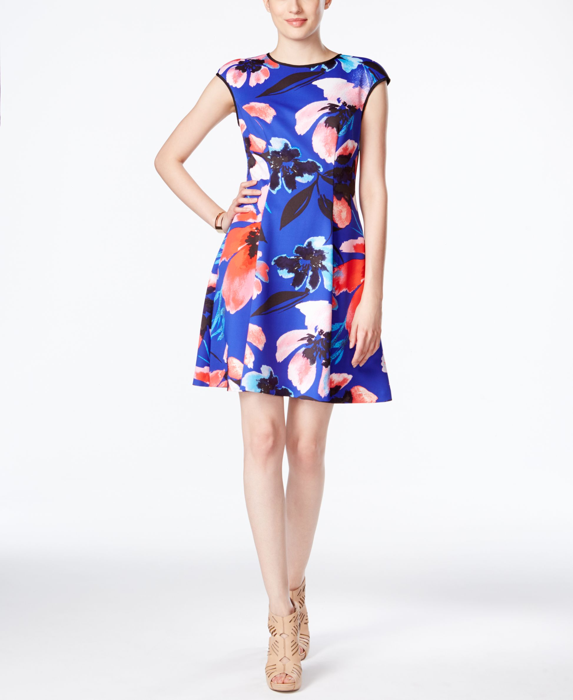 Vince Camuto Cap Sleeve Floral Print Dress Lyst