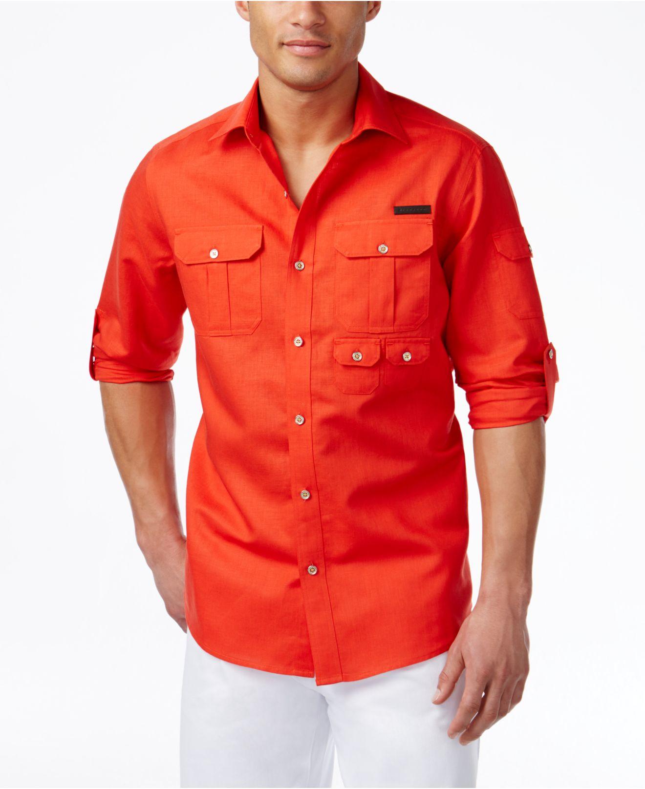 Lyst sean john men 39 s linen flight shirt in red for men for Sean john t shirts for mens