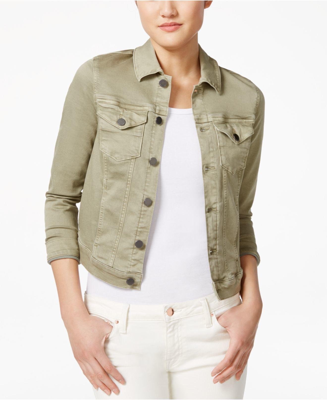 Calvin klein jeans Green Wash Denim Jacket in Green | Lyst