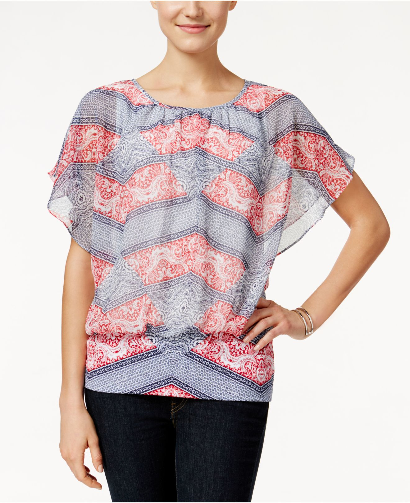 Style & co. Printed Flutter-sleeve Blouse, Only At Macy's ...