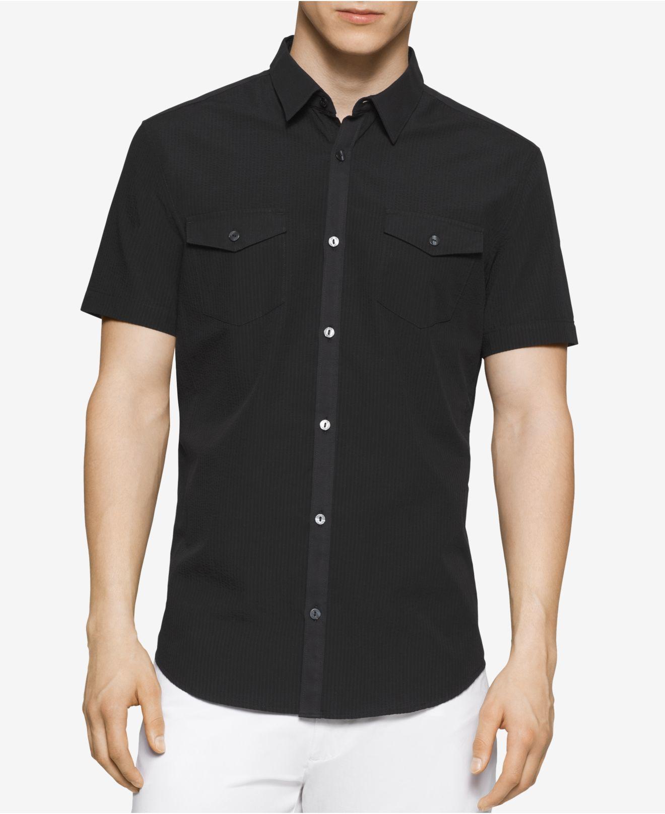 Calvin klein men 39 s slim fit textured short sleeve shirt in for Mens slim fit short sleeve shirts
