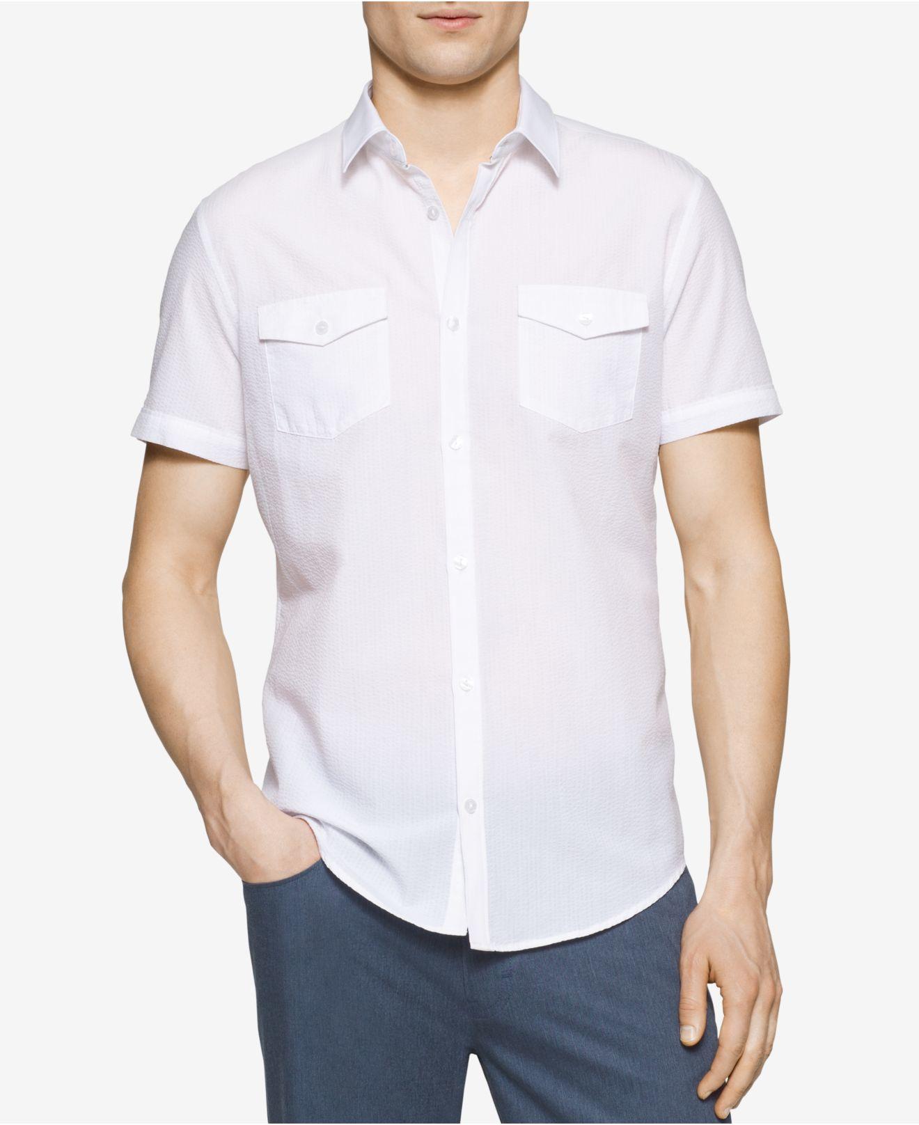 Calvin klein men 39 s slim fit textured short sleeve shirt in for Fitted short sleeve dress shirts for men