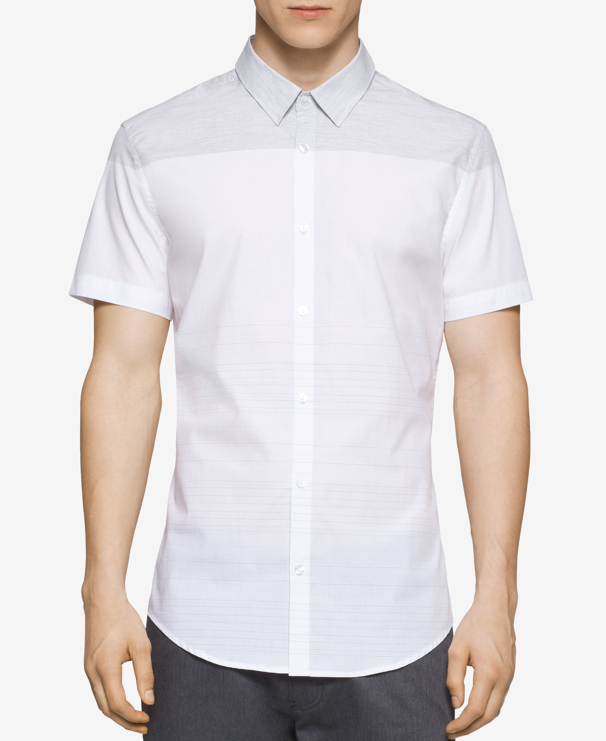 Calvin klein men 39 s engineered horizontal stripe short for Horizontal striped dress shirts men