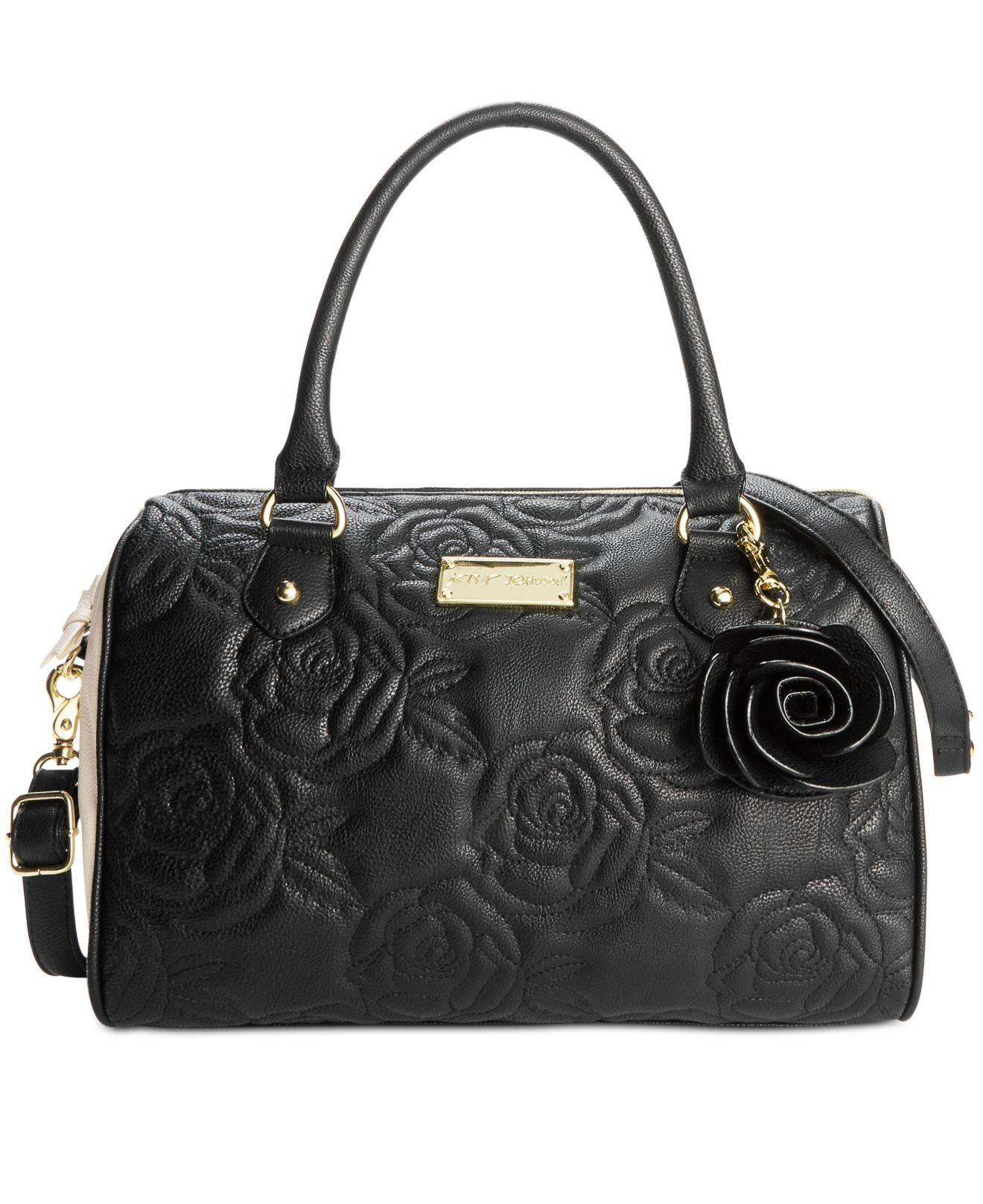 betsey johnson quilted satchel in black black