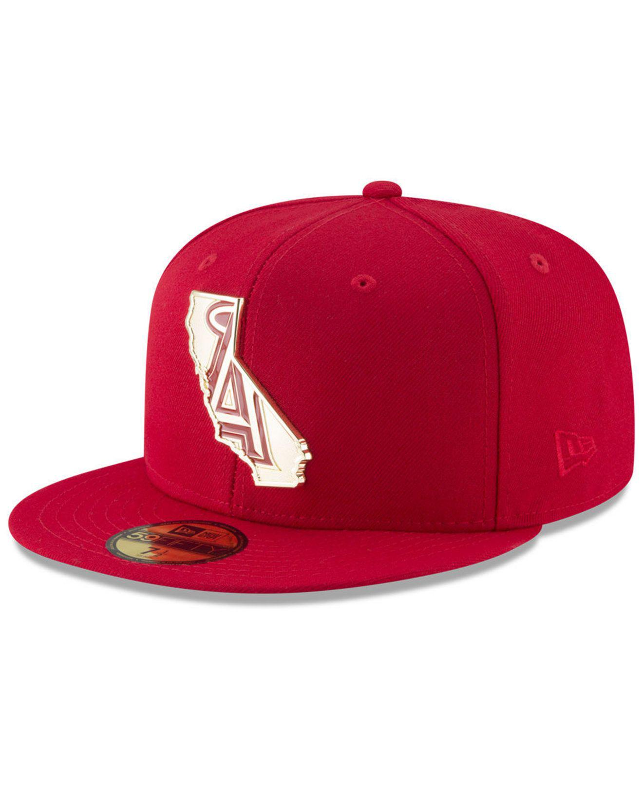 cheap for discount fbb04 2a850 ... new era mlb golden finish 59fifty cap d3aed 1089e  coupon code for ktz.  mens red los angeles angels gold stated 59fifty fitted cap cff77
