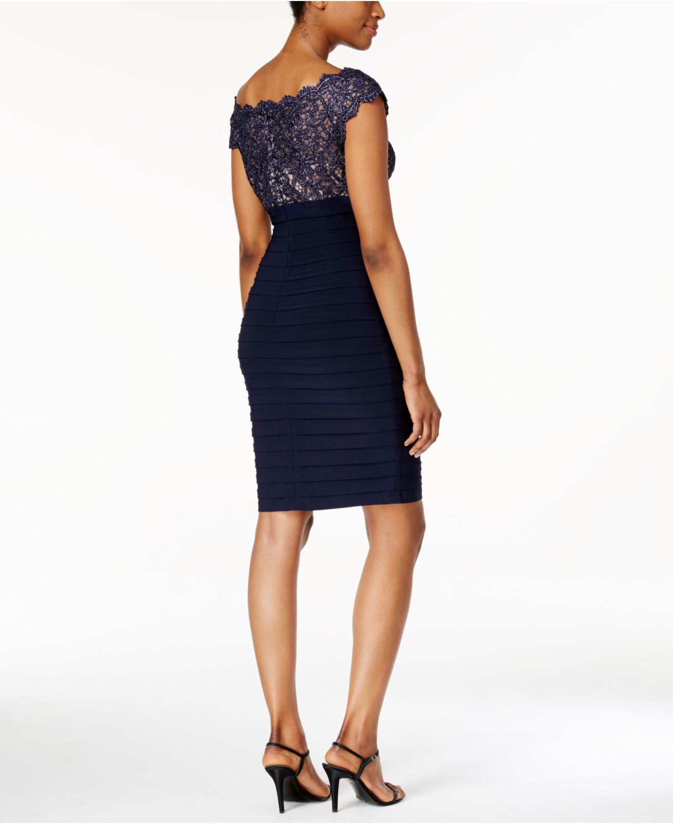Macys Navy Blue Dresses: Xscape Lace Pleated Bodycon Dress In Blue