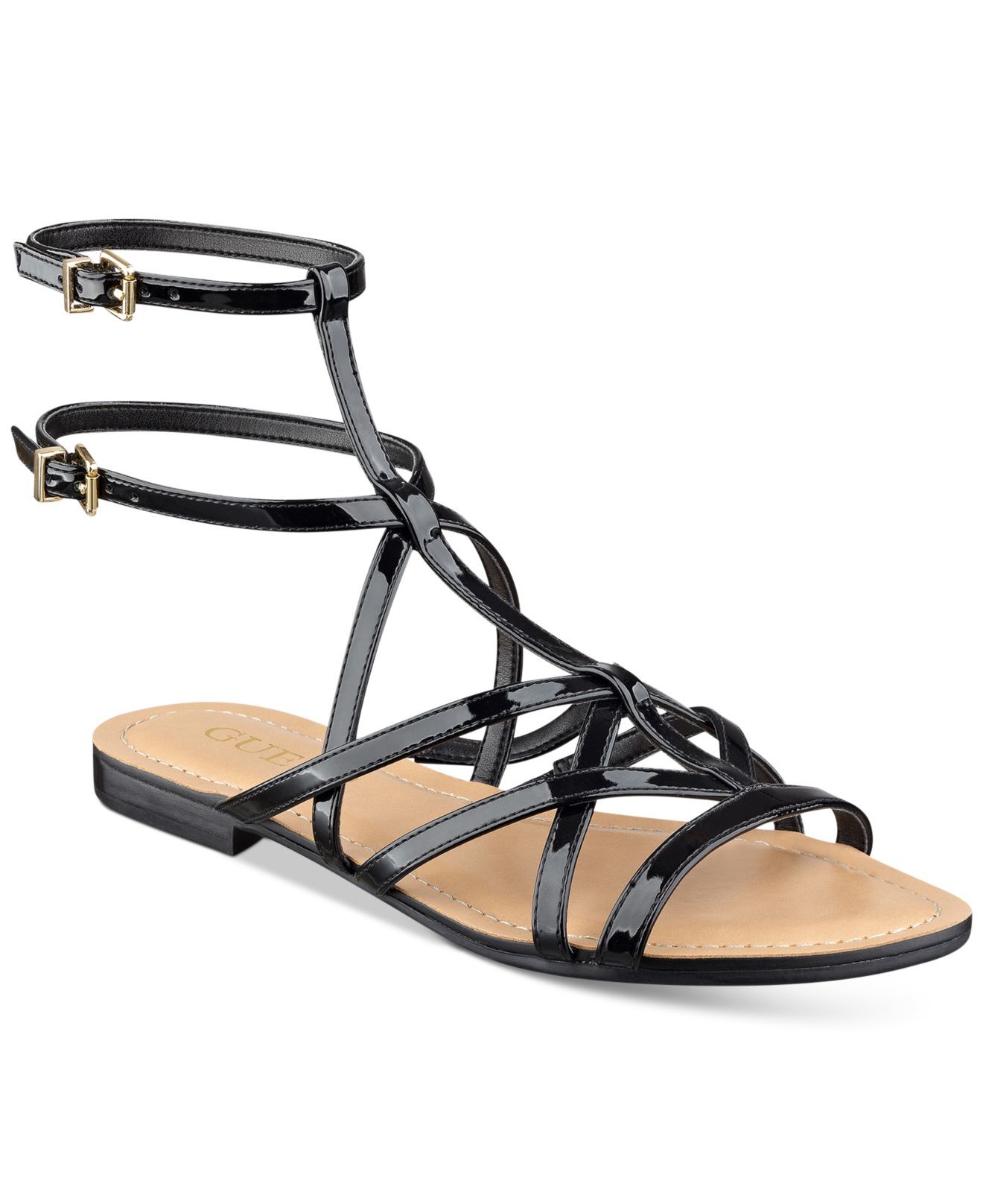 ON THE GO Flat Loafer Shoes - Black Patent Strappy Sandals Cleated Platforms Peep Toes High Heels.