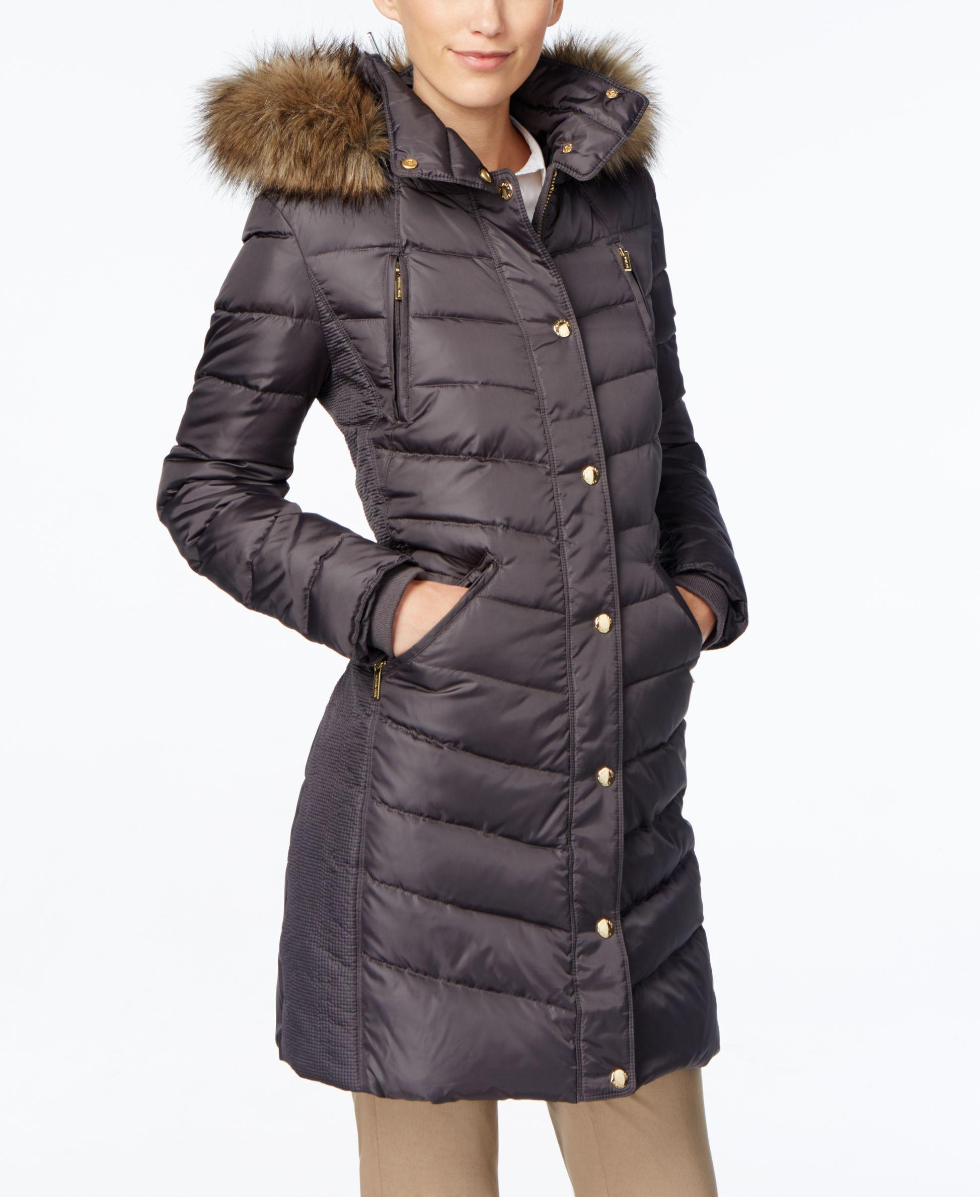 83302f1d6b23 Lyst - Michael Kors Petite Faux-Fur-Trimmed Down Puffer Coat in Gray