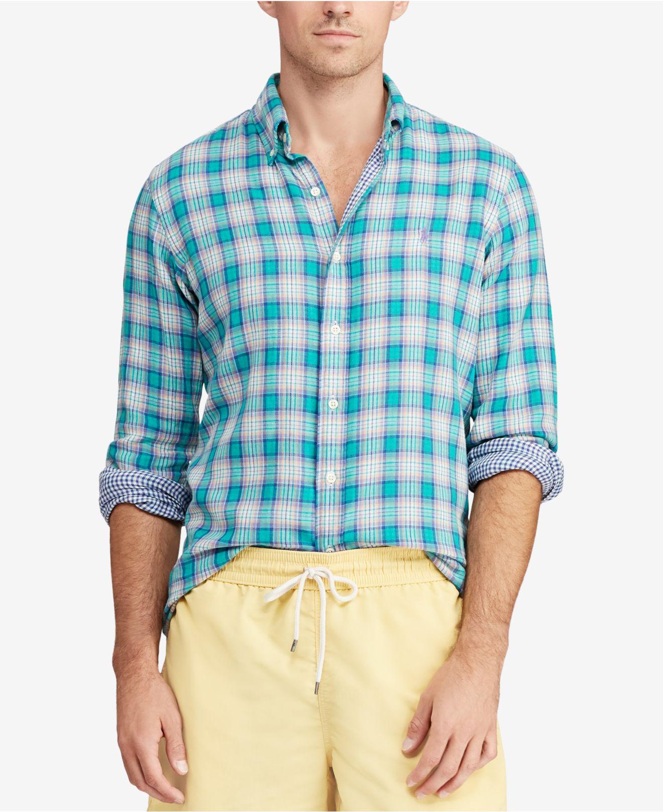 506841ec1 ... denmark polo ralph lauren. mens blue classic fit plaid shirt 63587 8f4b7