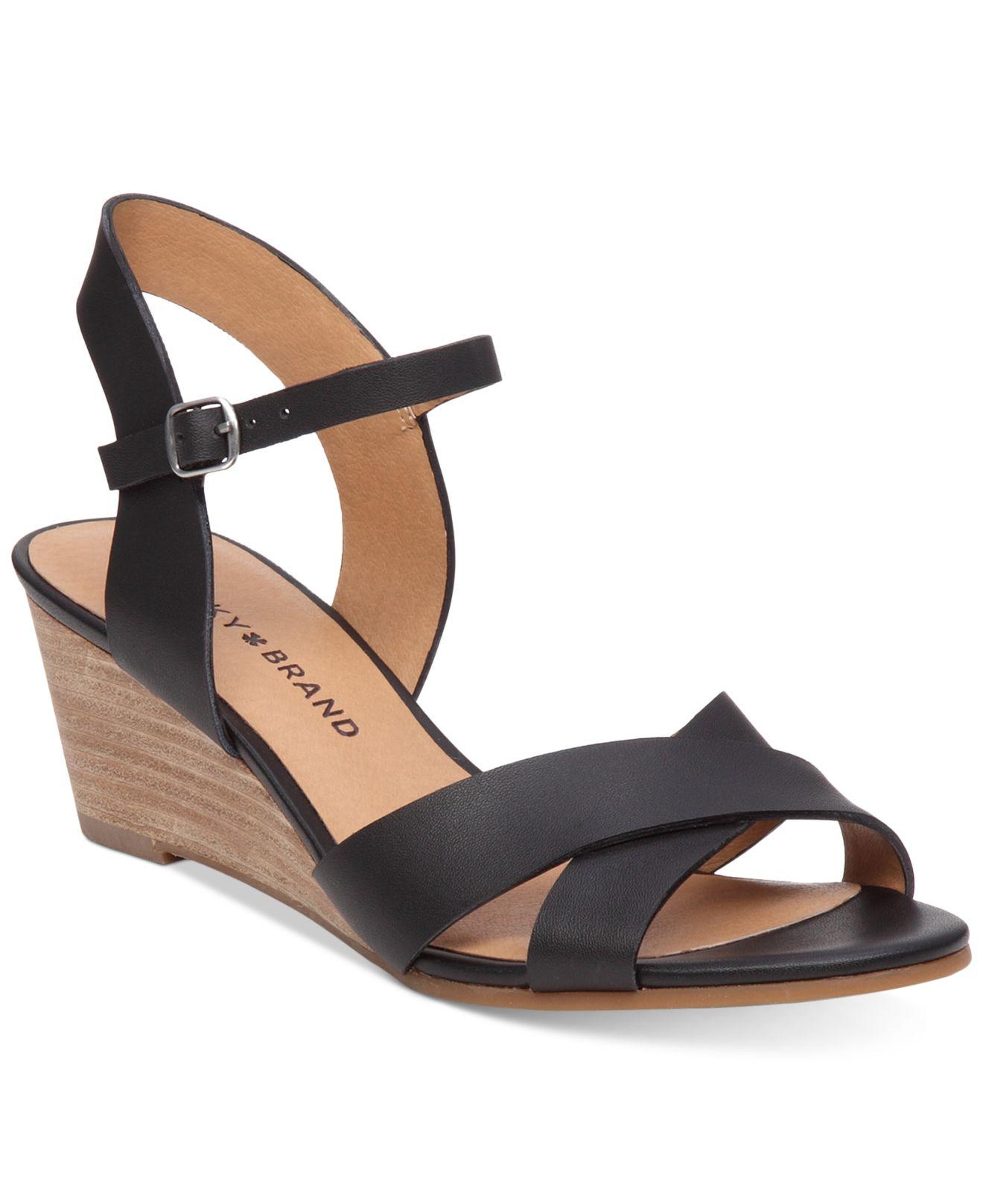 lucky brand s jaidan demi wedge sandals in black lyst