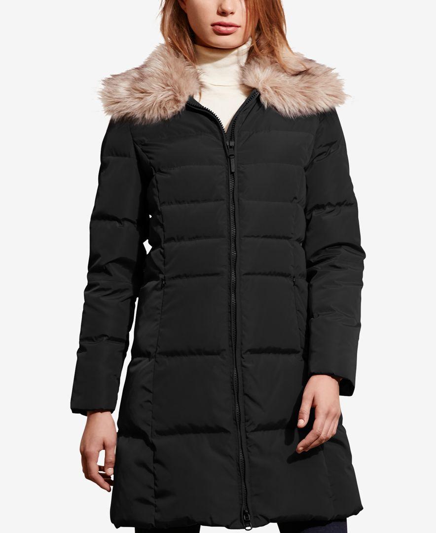 Lauren by ralph lauren Faux-fur-trim Quilted Down Coat in ...