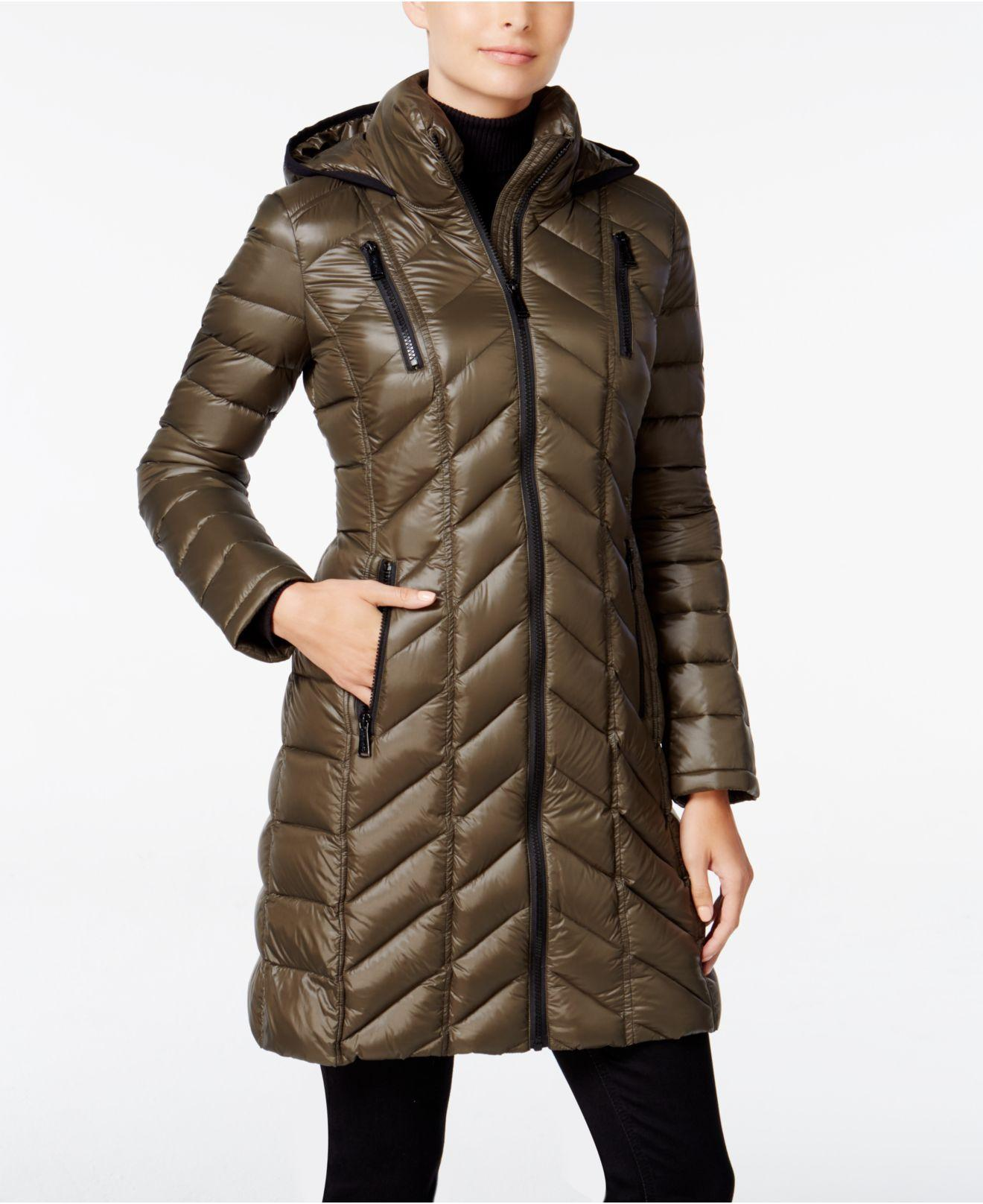 Calvin Klein Chevron Quilted Packable Puffer Coat In Brown